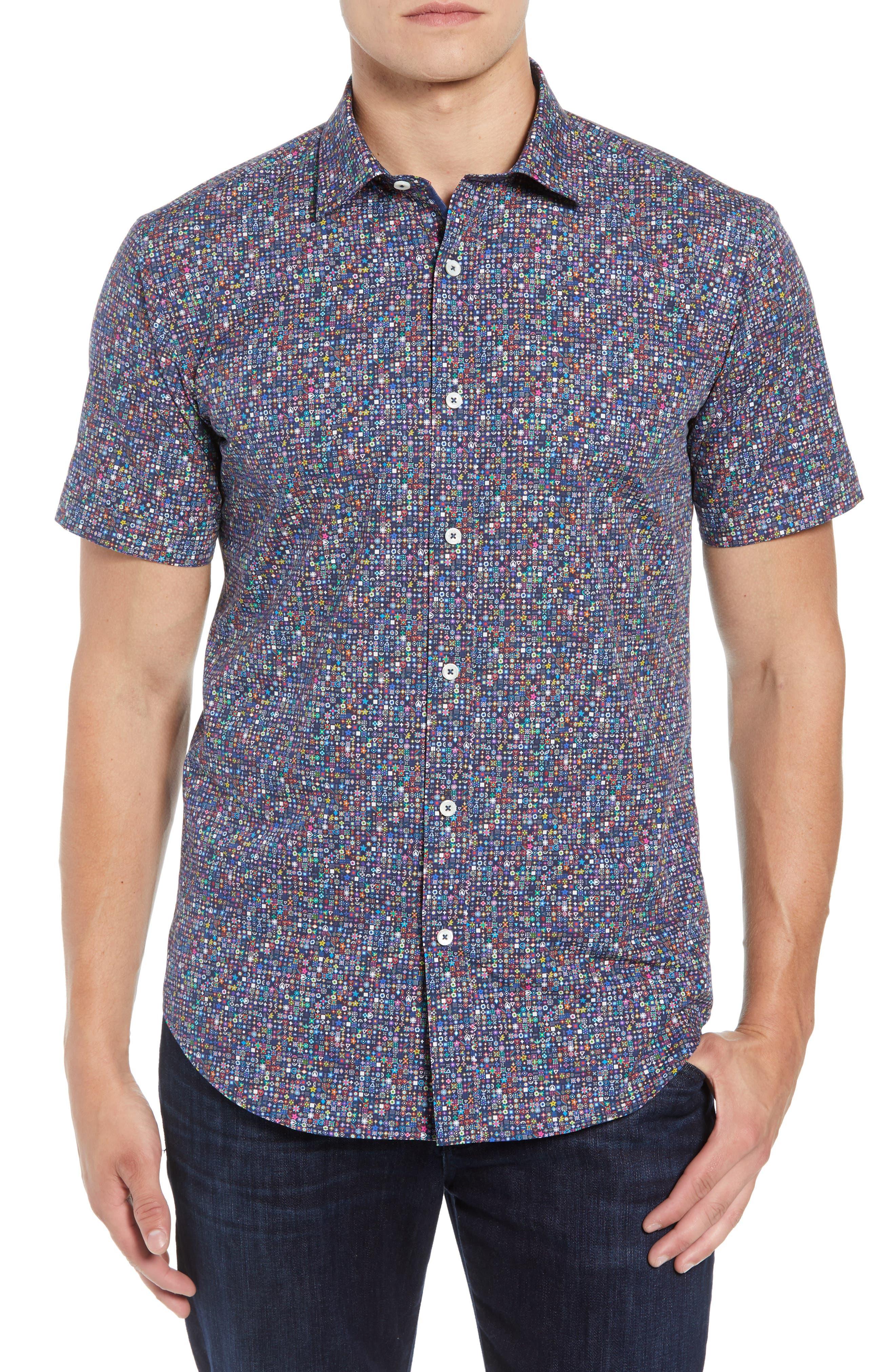 Shaped Fit Print Sport Shirt,                         Main,                         color, 001