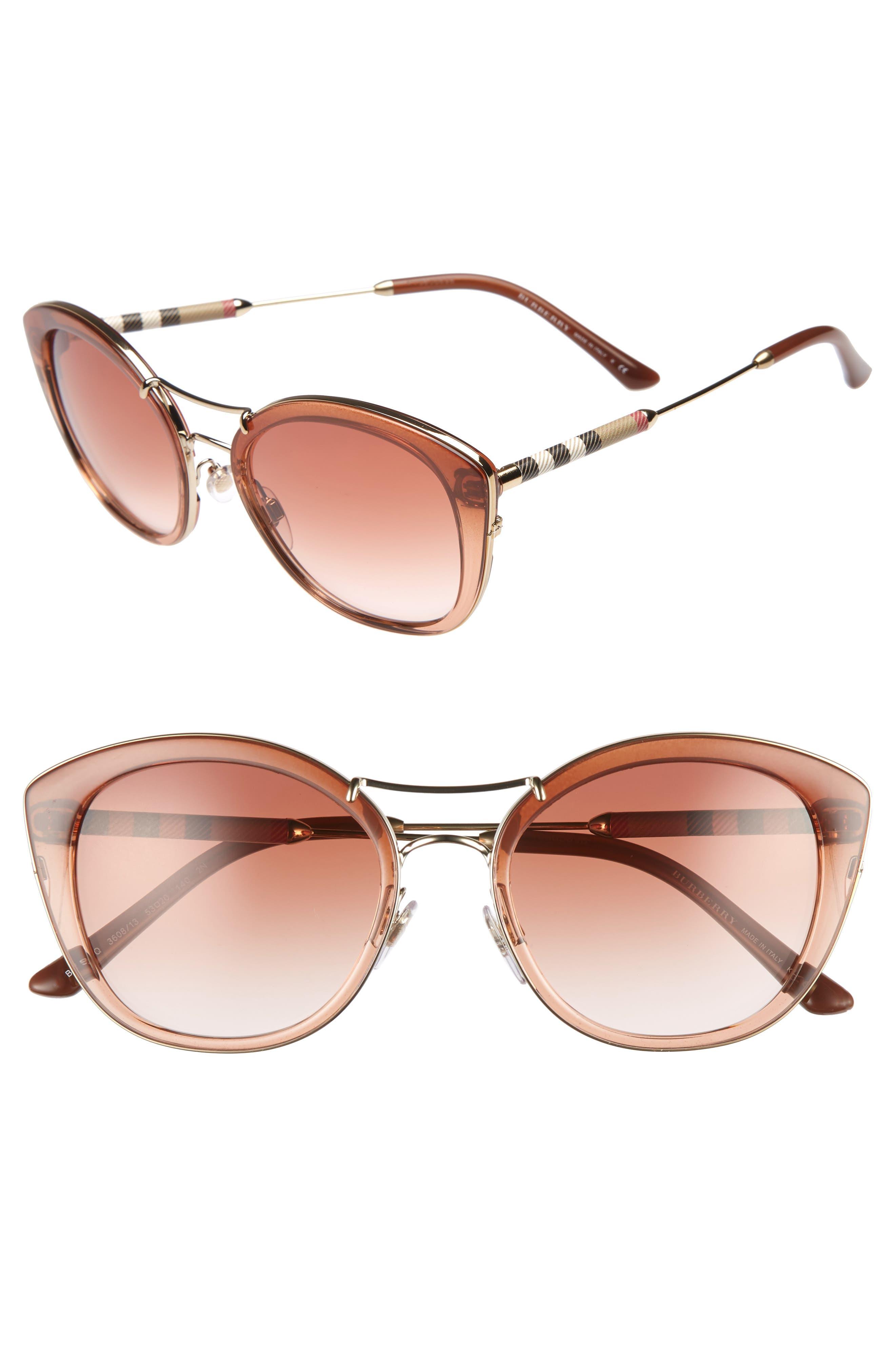 53mm Gradient Sunglasses,                         Main,                         color, BROWN GRADIENT