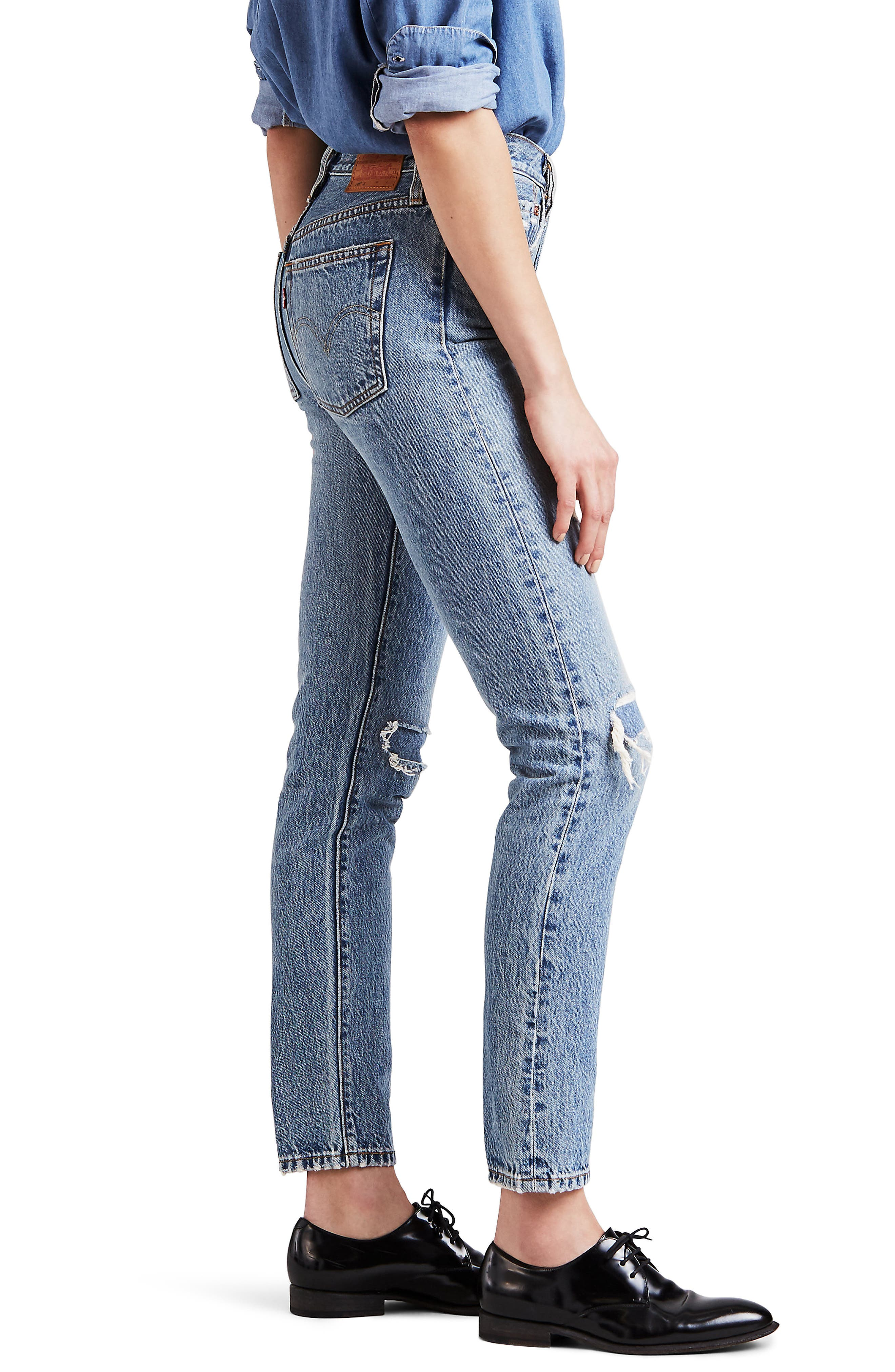 501<sup>®</sup> Distressed Skinny Jeans,                             Alternate thumbnail 3, color,                             420
