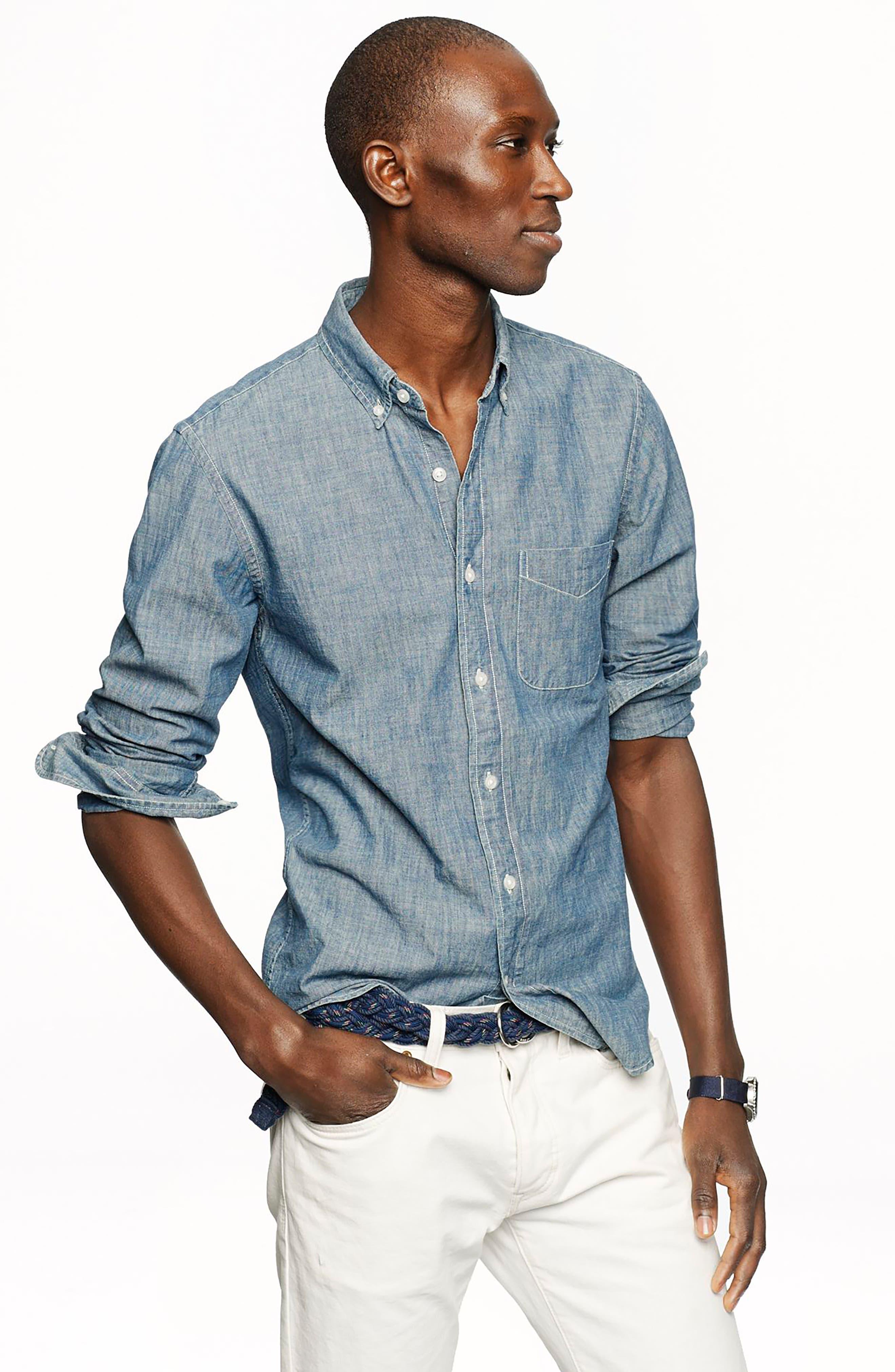 Slim Fit Indigo Chambray Sport Shirt,                             Alternate thumbnail 4, color,                             400
