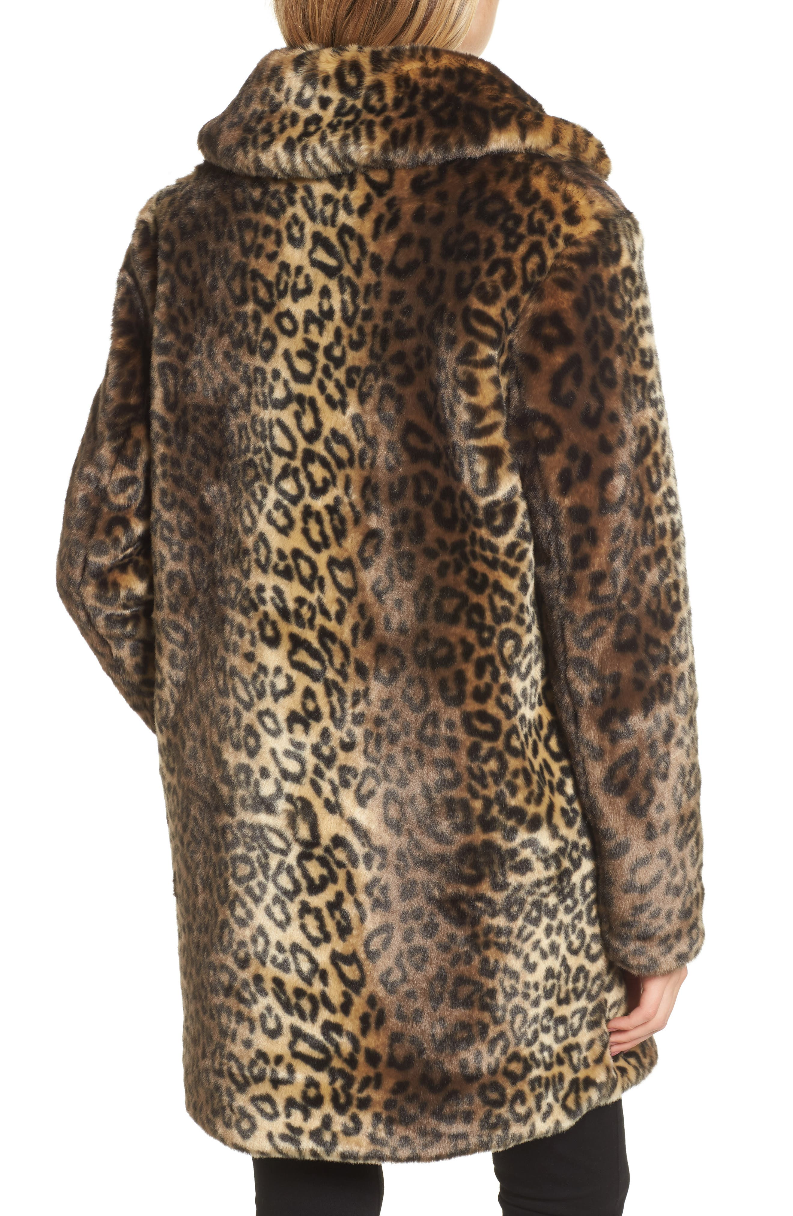 Reversible Cheetah Print Faux Fur Jacket,                             Alternate thumbnail 3, color,