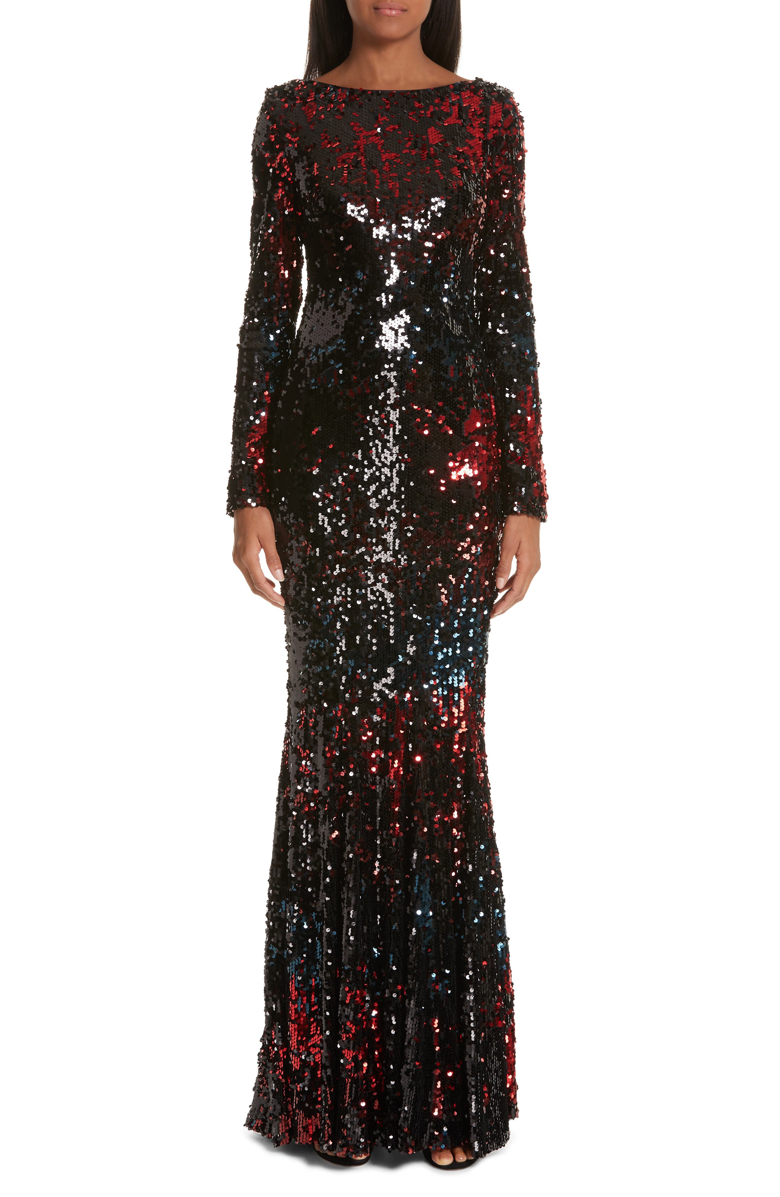 Talbot Runhof Vulcano Sequin Evening Dress, Black