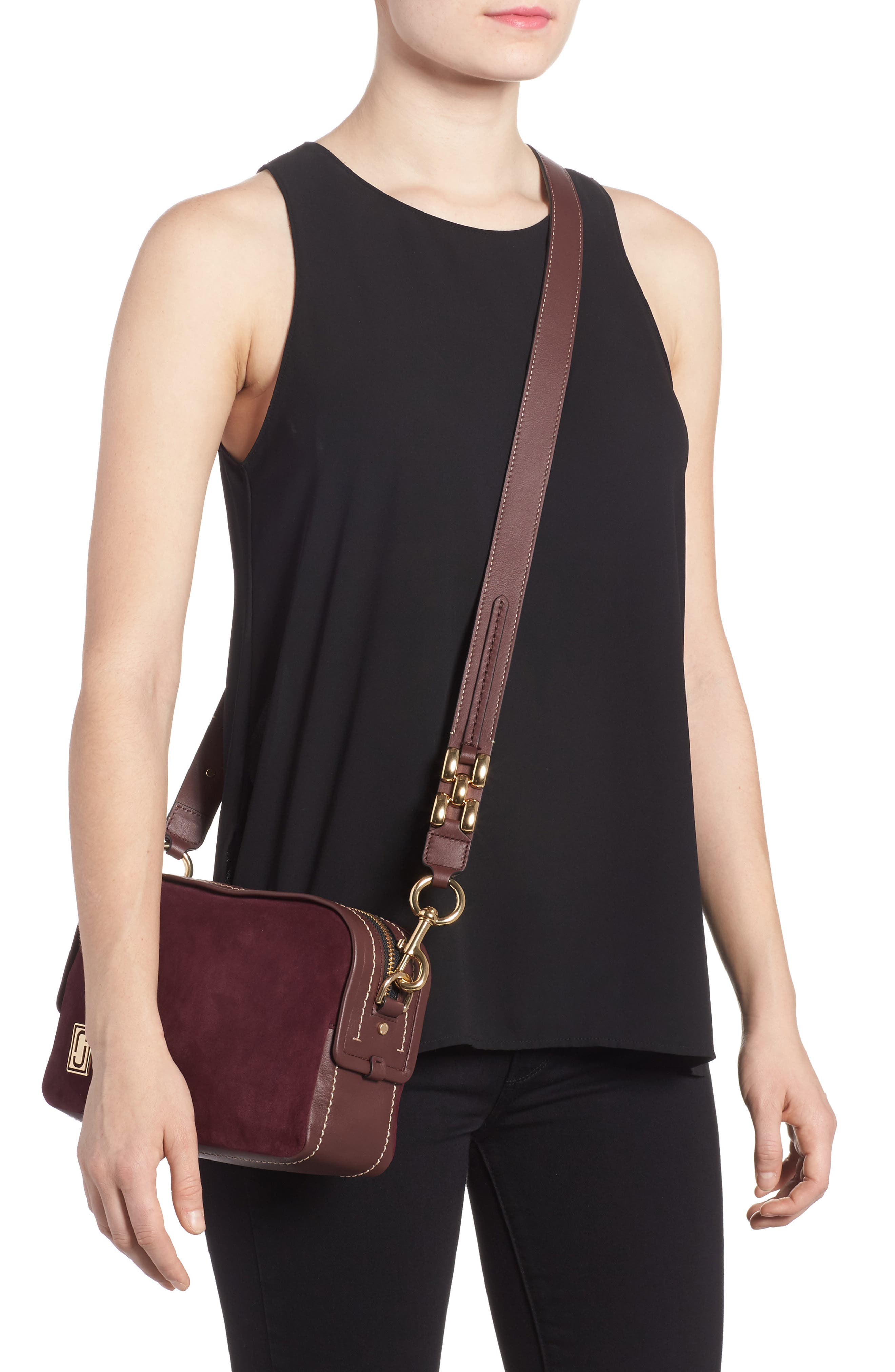 The Squeeze Suede & Leather Shoulder Bag,                             Alternate thumbnail 6, color,