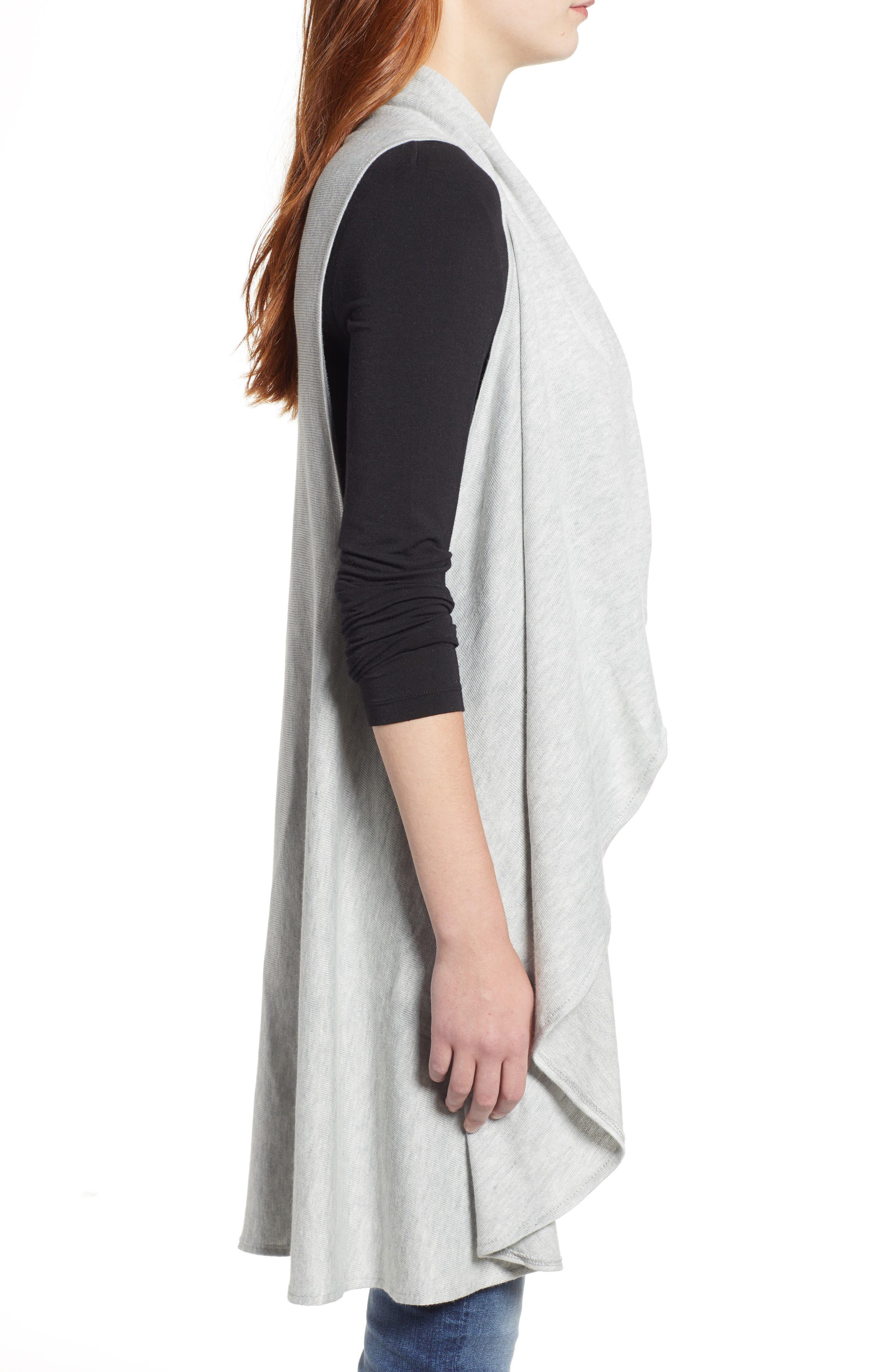 Essential Knit Vest,                             Alternate thumbnail 3, color,                             GREY SOFT HEATHER