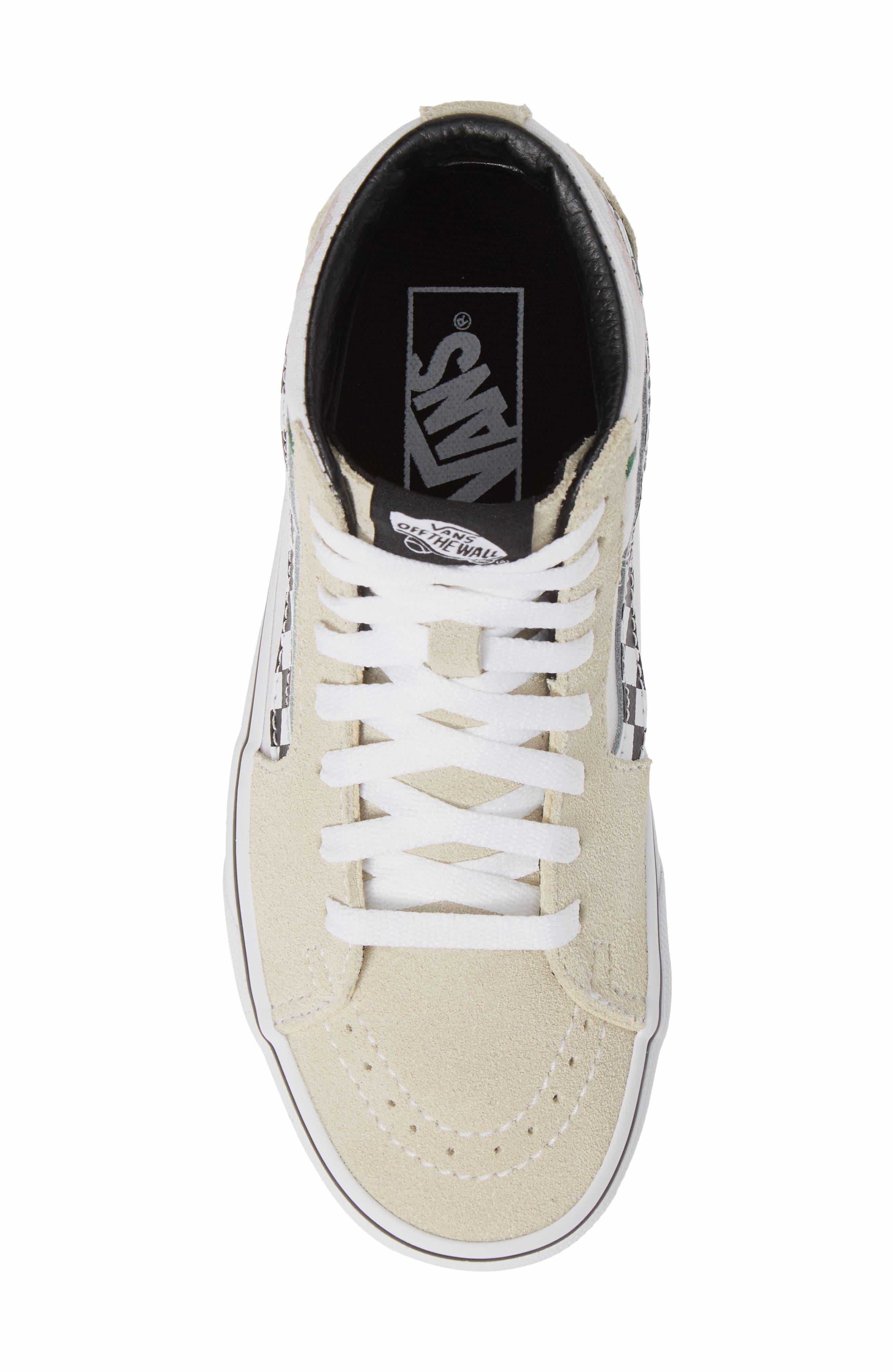VANS,                             Sk8-Hi Checker Floral High Top Sneaker,                             Alternate thumbnail 5, color,                             CHECKER FLORAL TURTLEDOVE