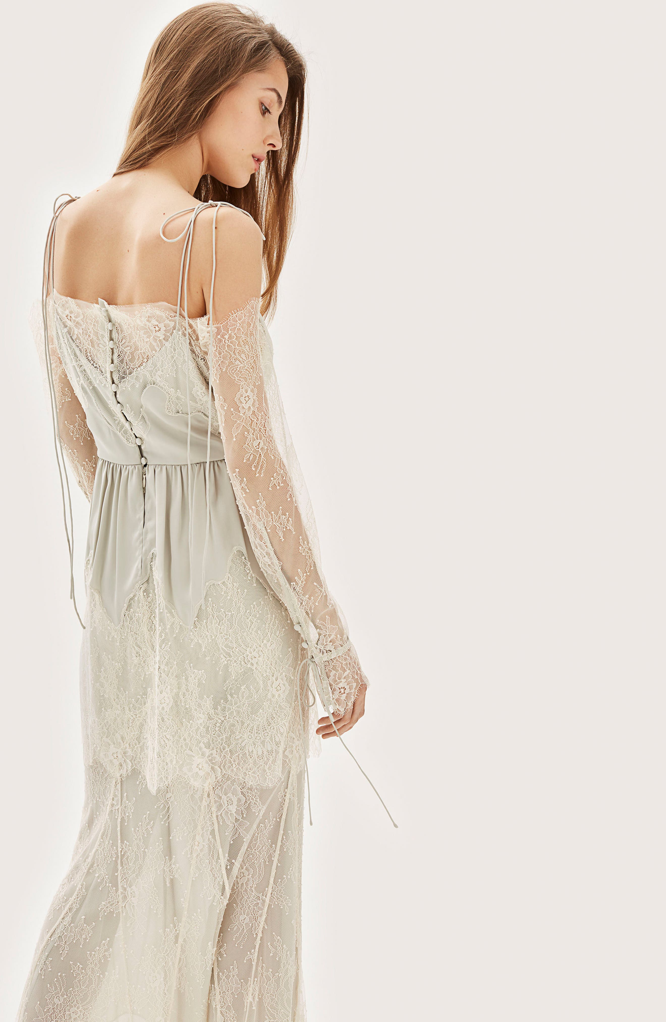 Bride Bardot Lace Off the Shoulder Gown,                             Alternate thumbnail 6, color,                             900