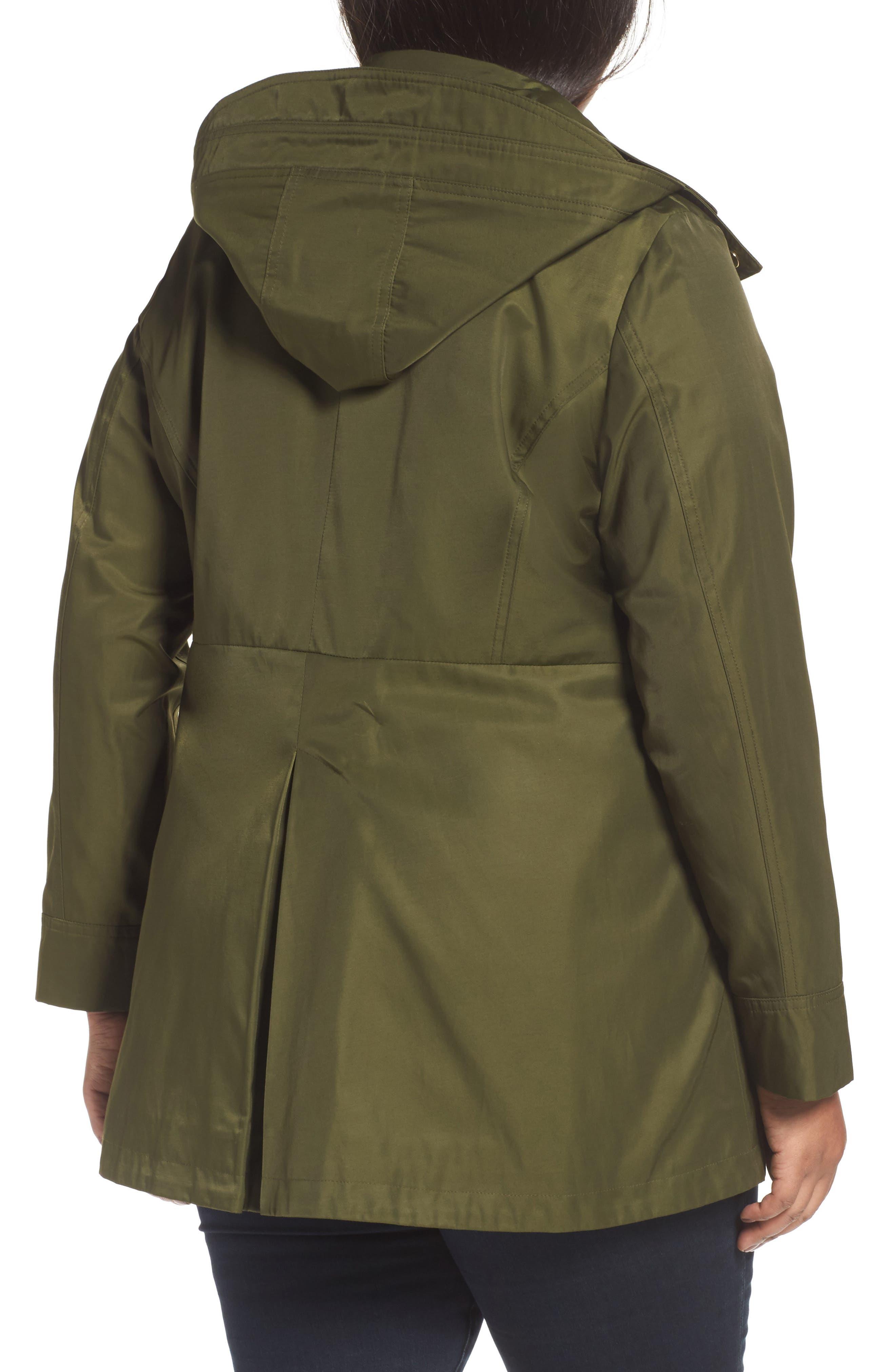 Packable Fit & Flare Raincoat,                             Alternate thumbnail 2, color,                             OLIVE