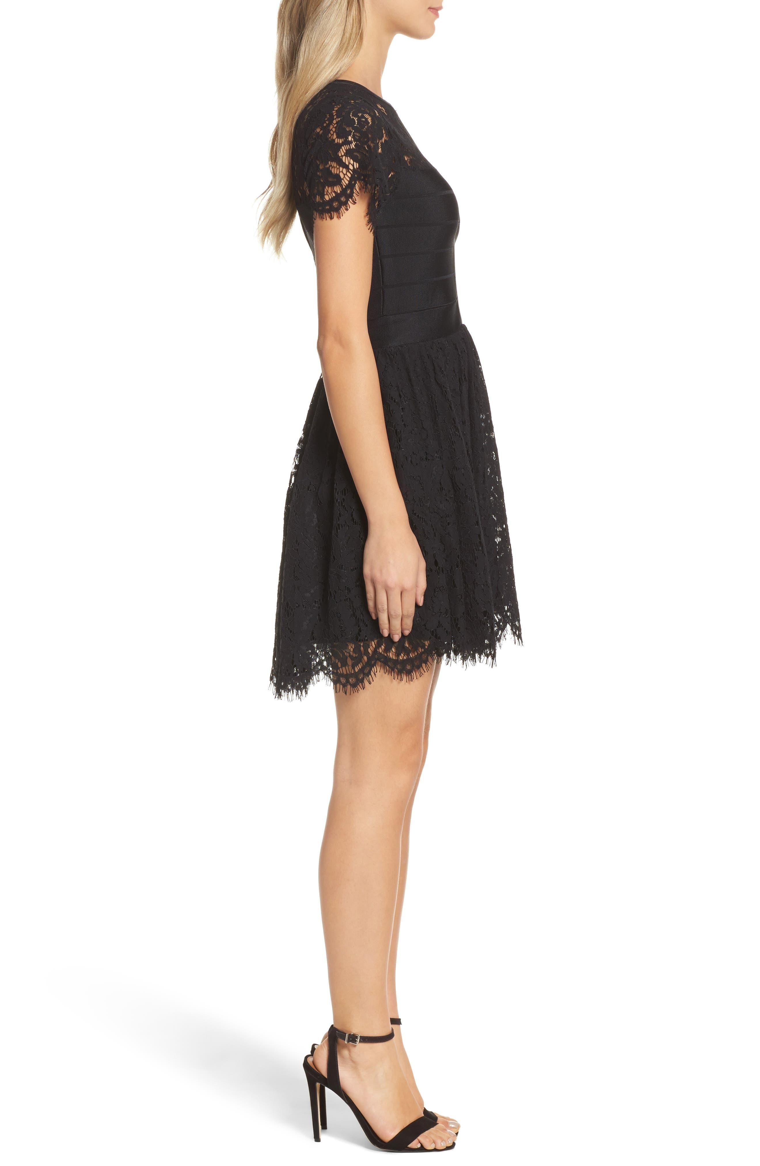 Shana Spotlight Lace Dress,                             Alternate thumbnail 3, color,                             BLACK