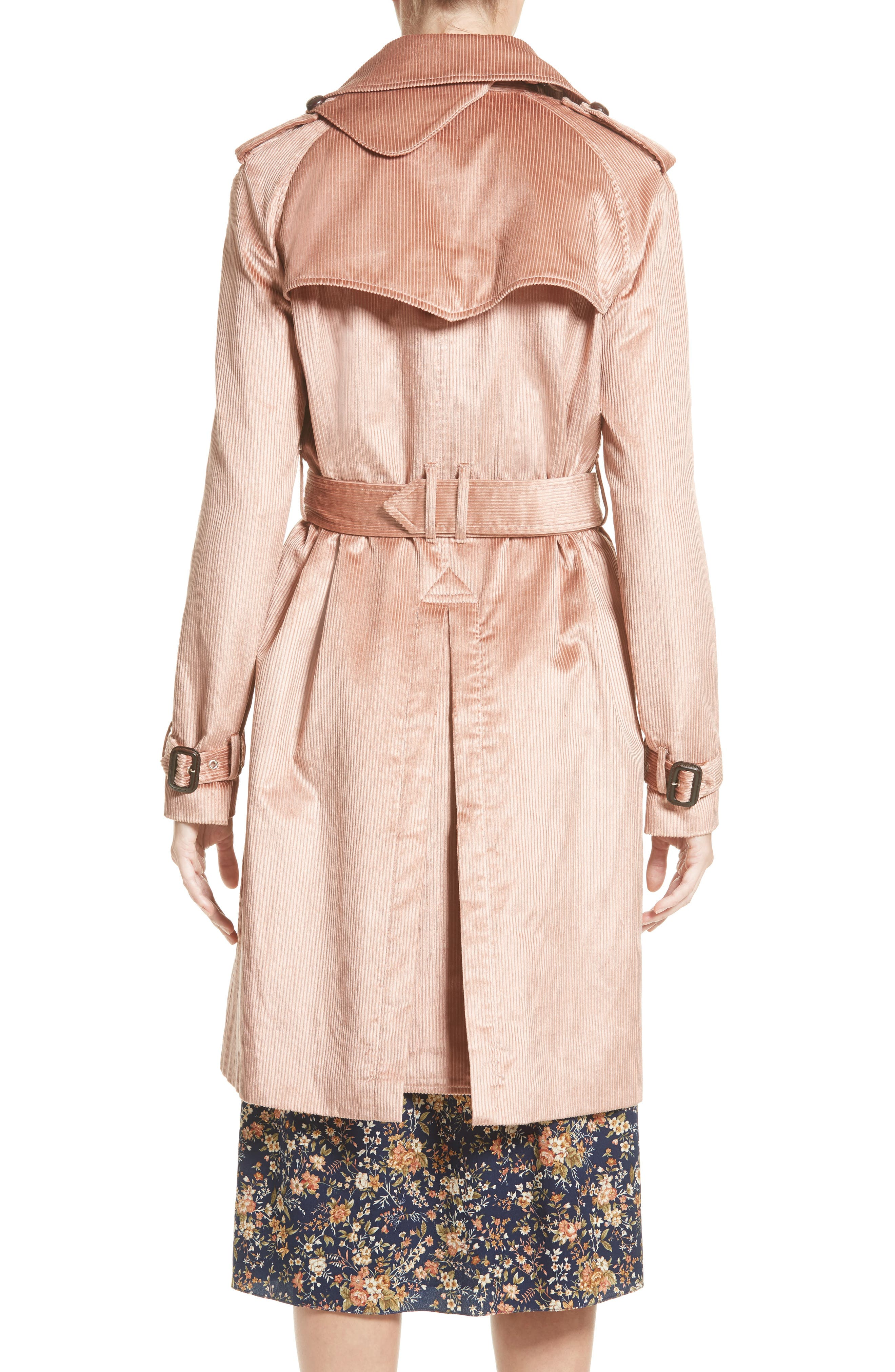 Corduroy Belted Trench Coat,                             Alternate thumbnail 2, color,                             680