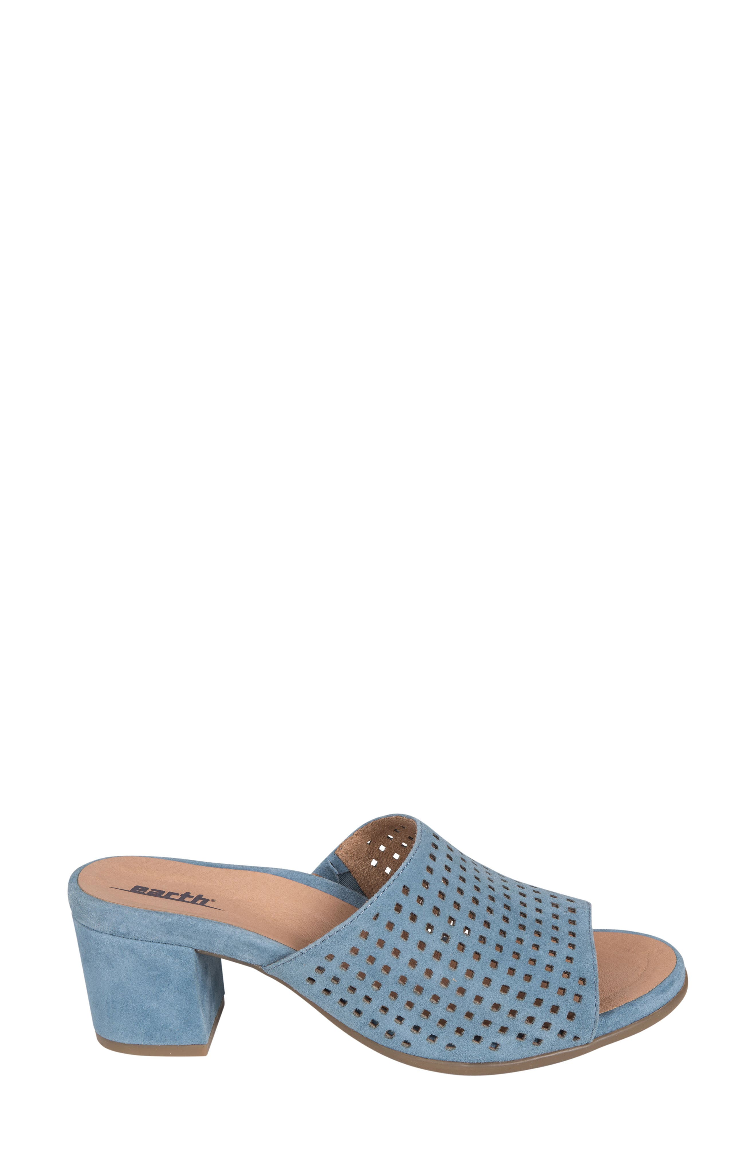Ibiza Perforated Sandal,                             Alternate thumbnail 3, color,                             SKY BLUE SUEDE