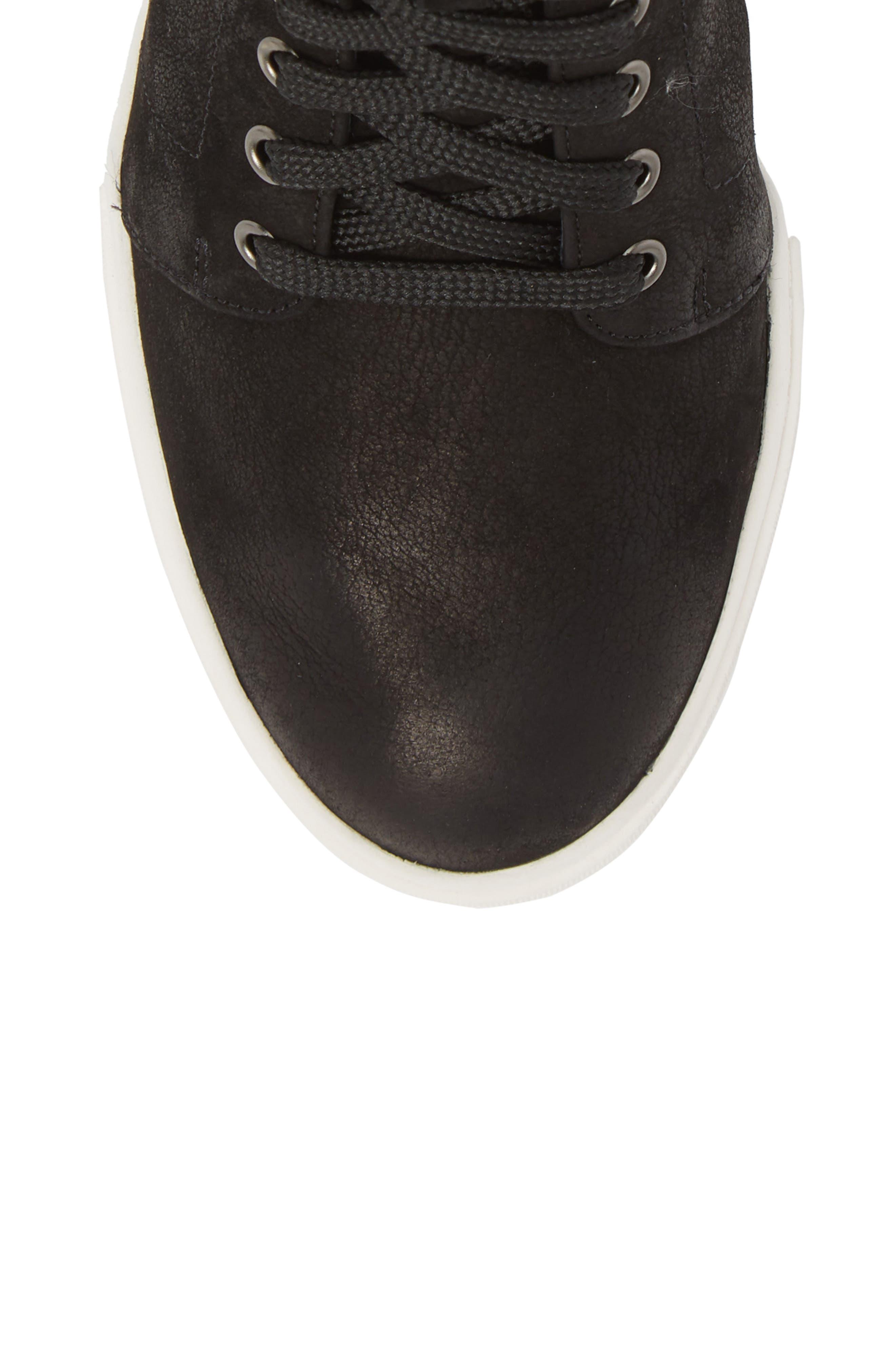 Axel Wedge Sneaker,                             Alternate thumbnail 5, color,                             BLACK OILED NUBUCK