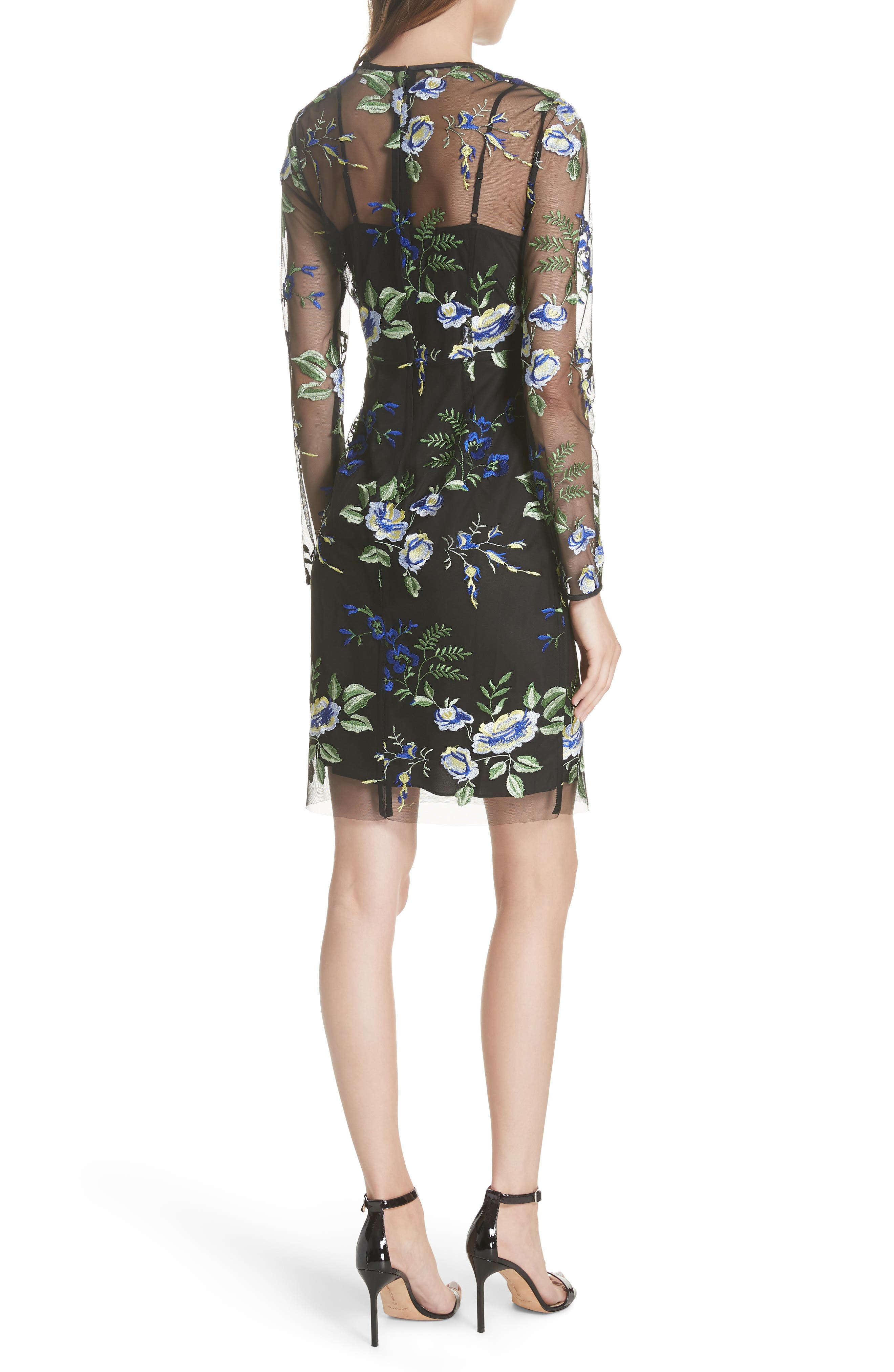 Embroidered Overlay Dress,                             Alternate thumbnail 2, color,                             002