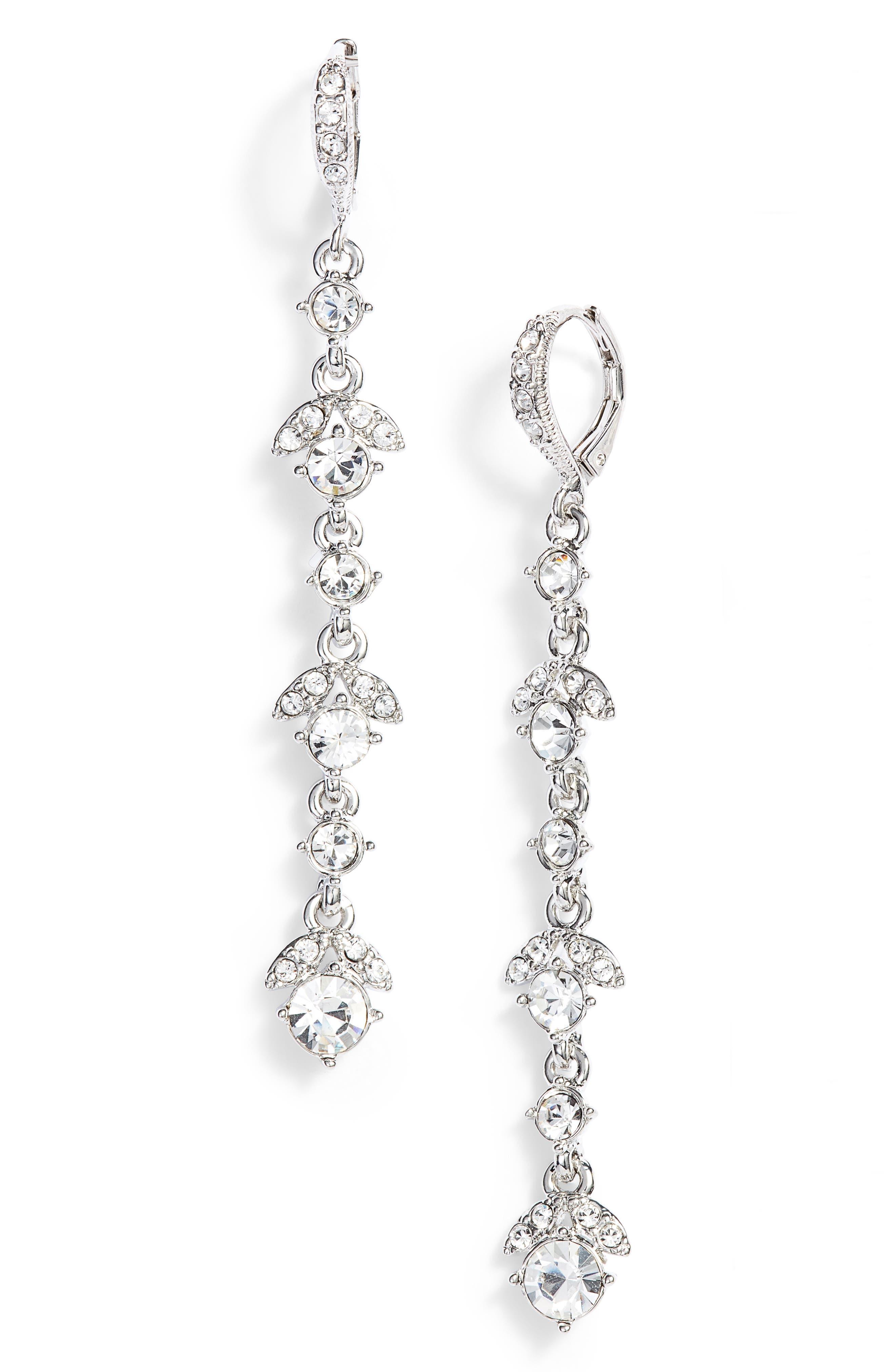 GIVENCHY,                             Crystal Linear Drop Earrings,                             Main thumbnail 1, color,                             SILVER/ CRYSTAL