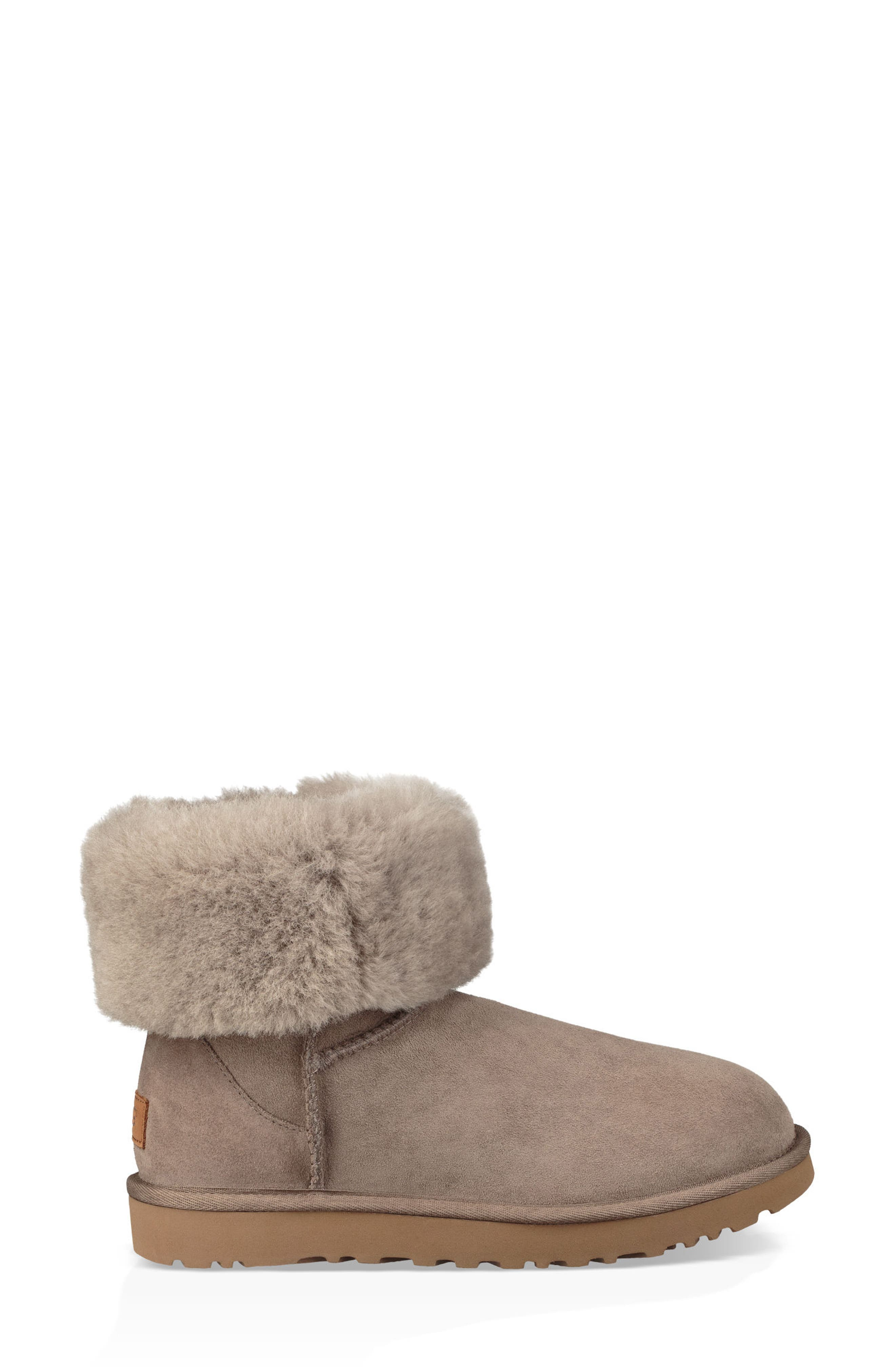 'Classic II' Genuine Shearling Lined Short Boot,                             Alternate thumbnail 8, color,                             BRINDLE SUEDE