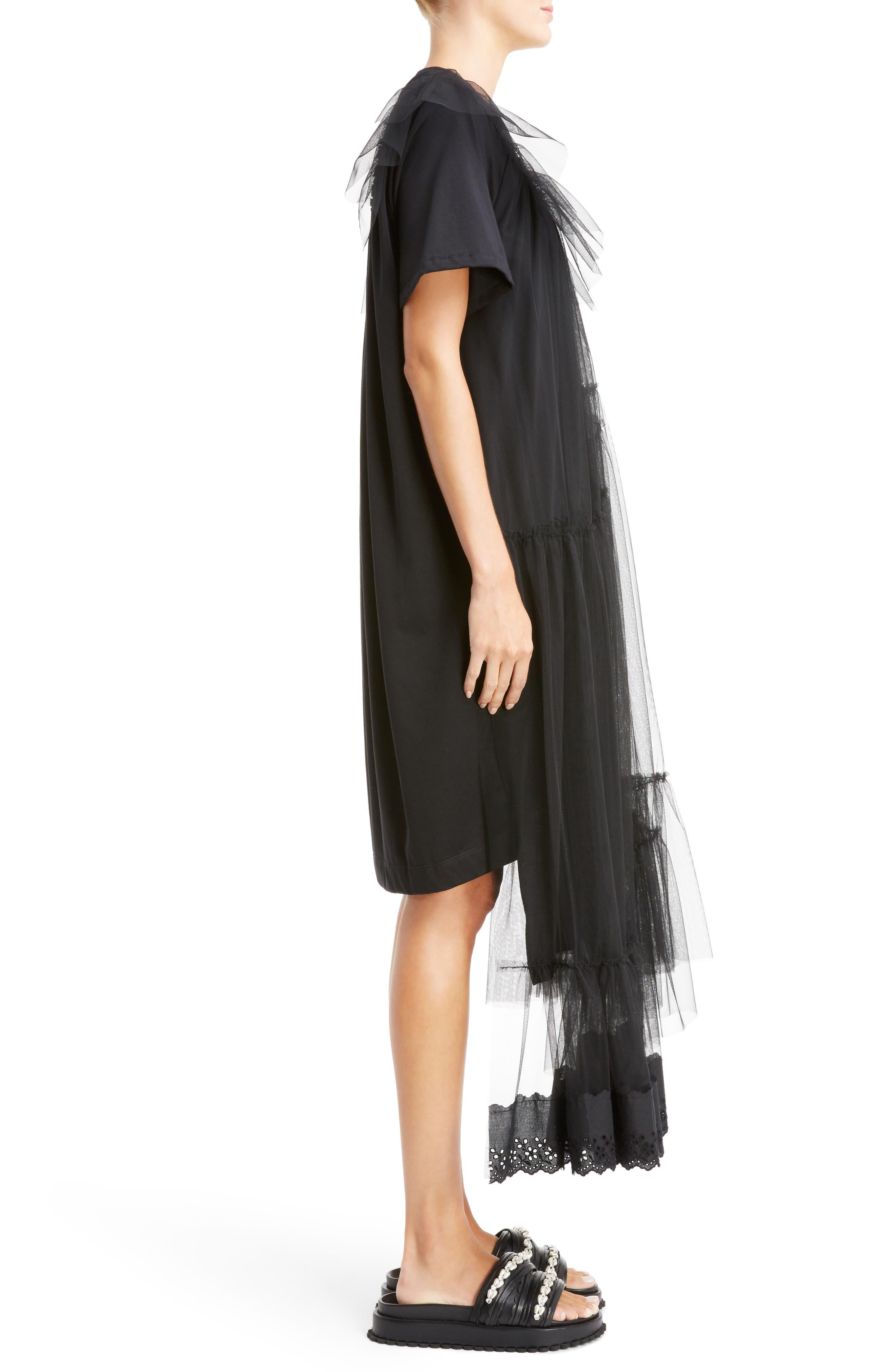 Long Jersey & Tulle T-Shirt Dress,                             Alternate thumbnail 3, color,                             001