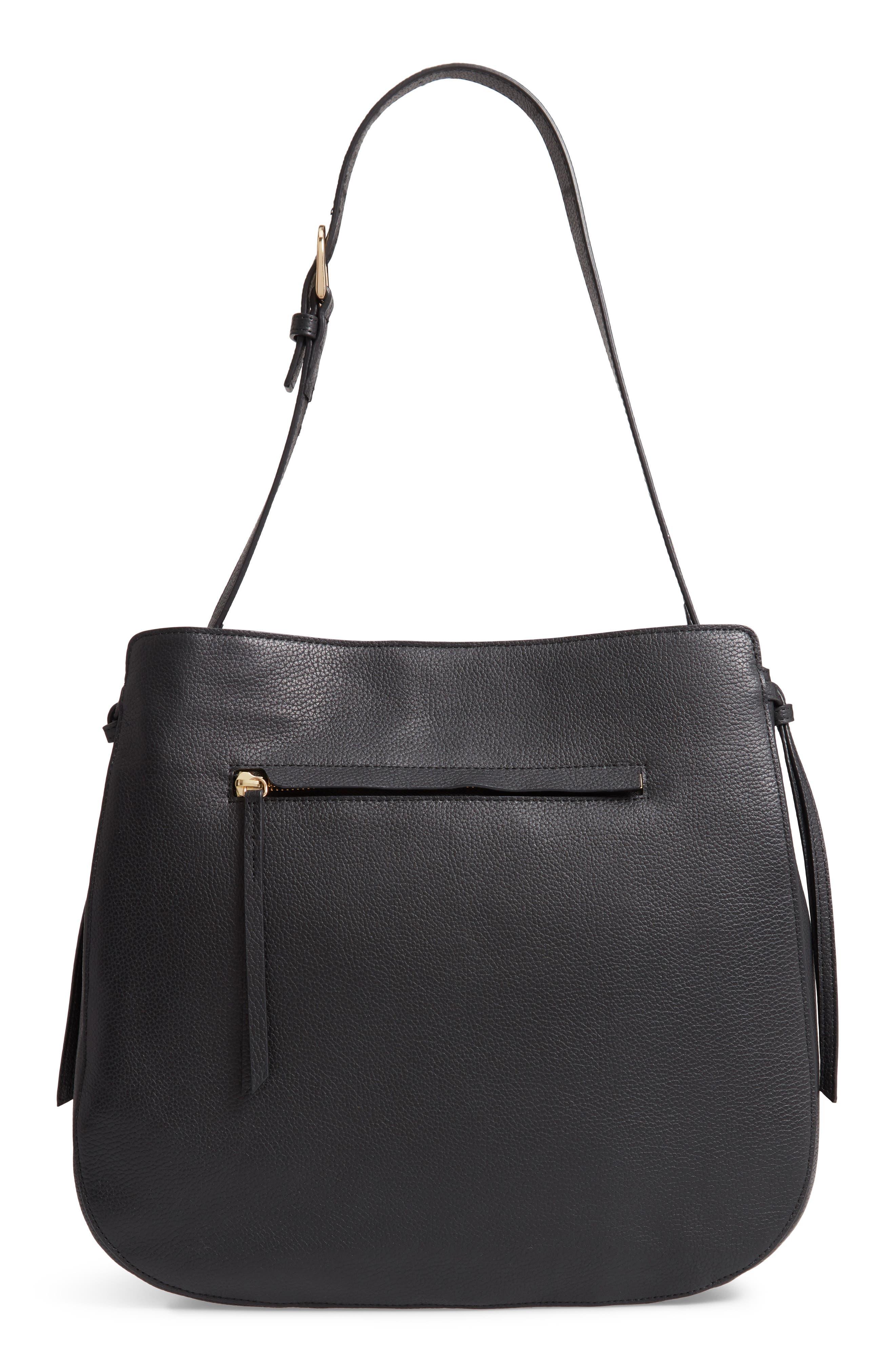 Finley Leather Hobo,                             Main thumbnail 1, color,                             BLACK