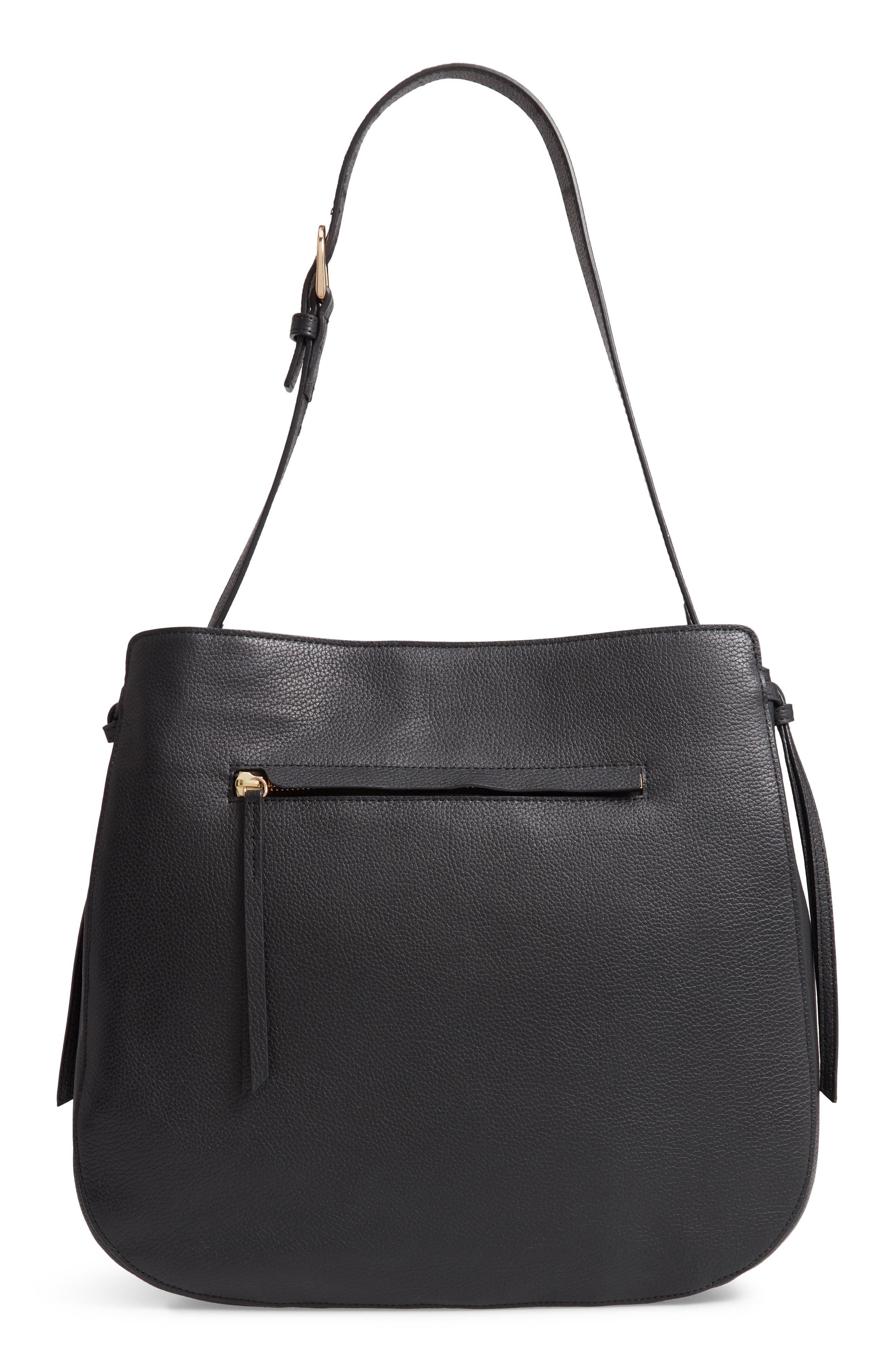 Finley Leather Hobo,                         Main,                         color, BLACK