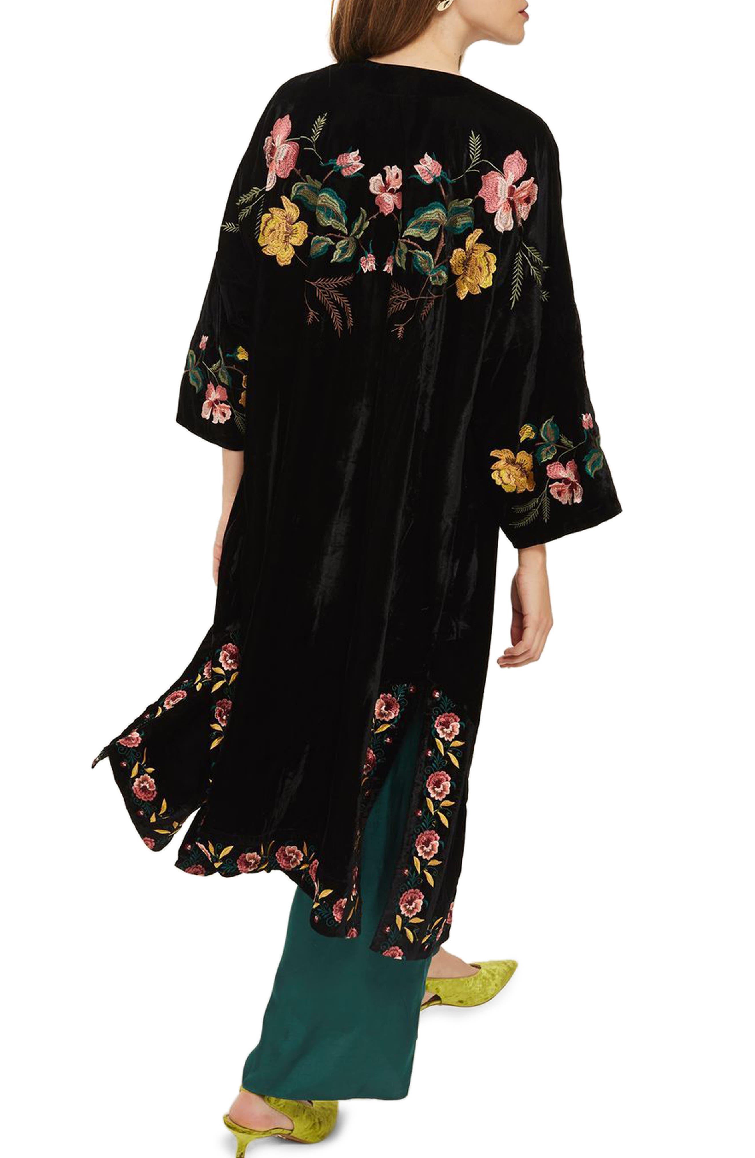 Floral Embroidered Velvet Kimono,                             Alternate thumbnail 2, color,
