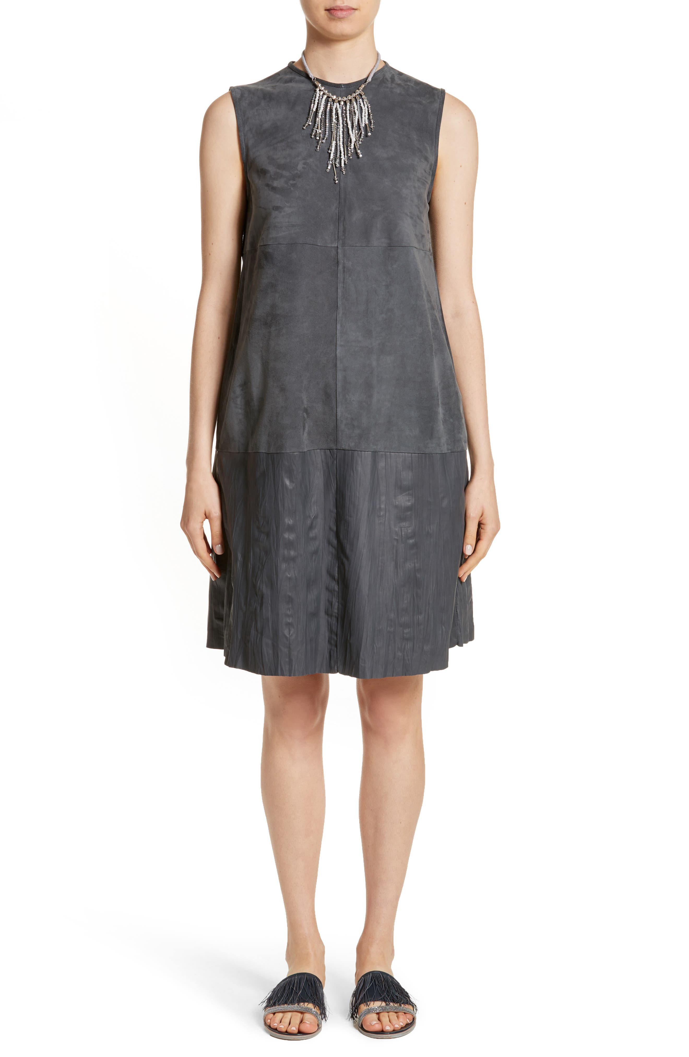 Suede & Crinkled Leather Dress,                             Alternate thumbnail 7, color,