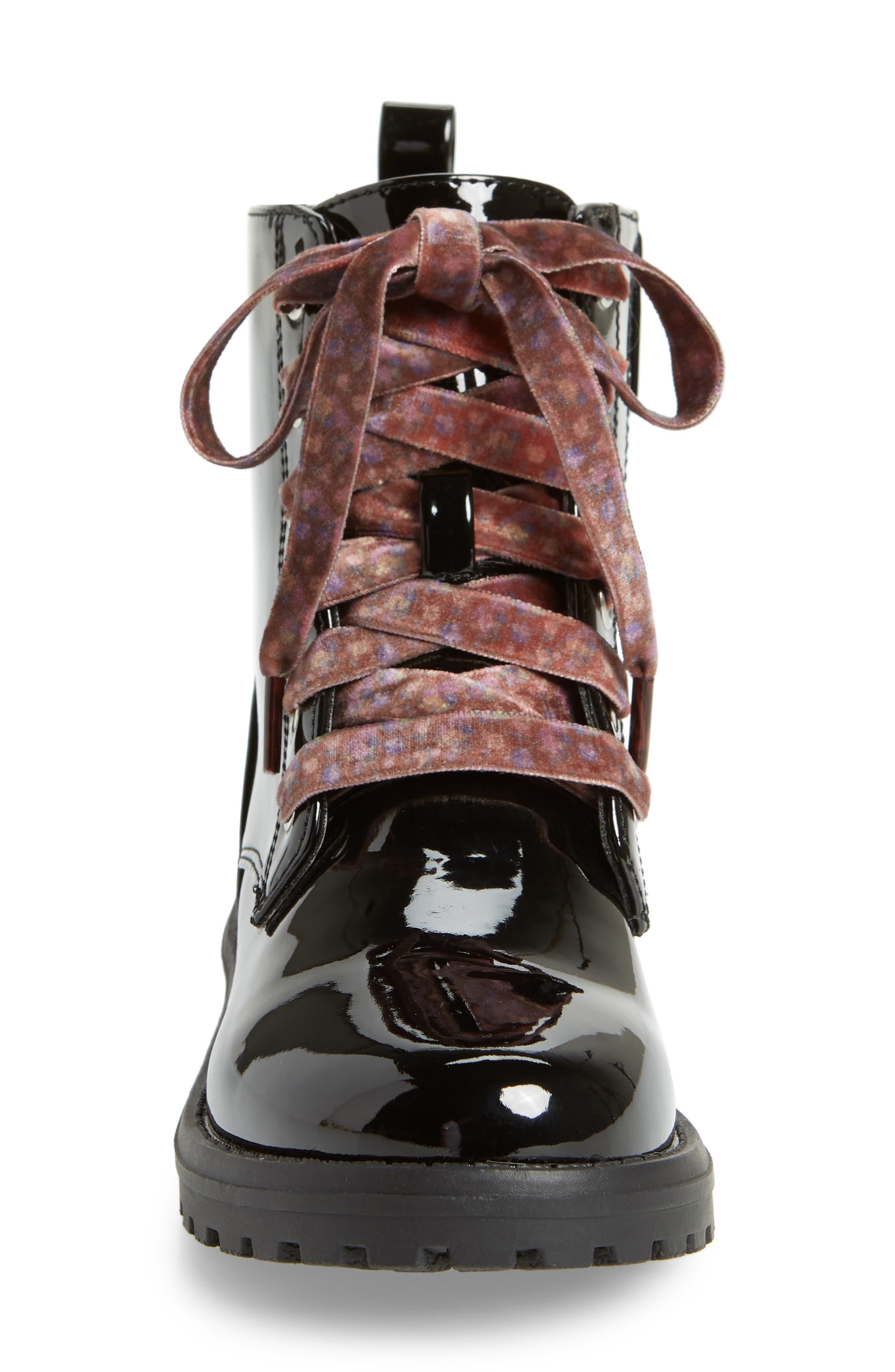 Bristol Hiking Boot,                             Alternate thumbnail 4, color,                             BLACK PATENT FAUX LEATHER