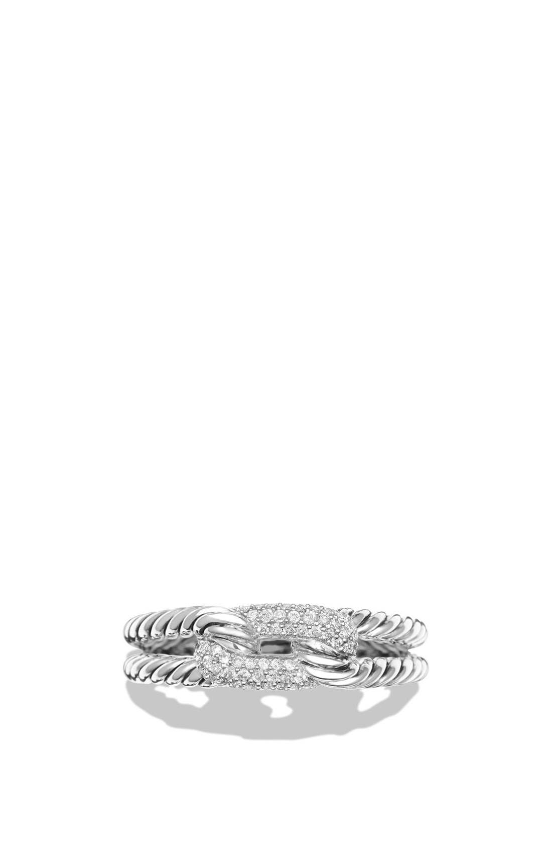 'Petite Pavé Loop Ring with Black Diamonds,                             Alternate thumbnail 4, color,                             SILVER
