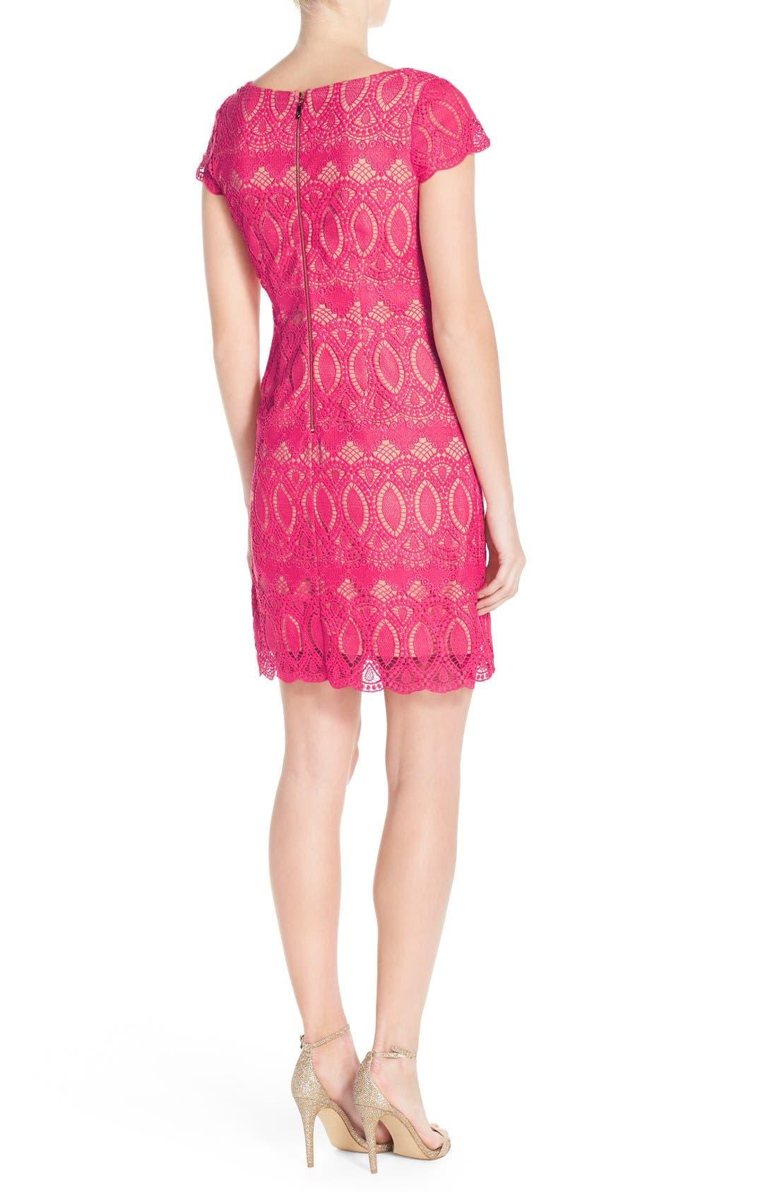 Scalloped Lace Sheath Dress,                             Alternate thumbnail 4, color,                             660