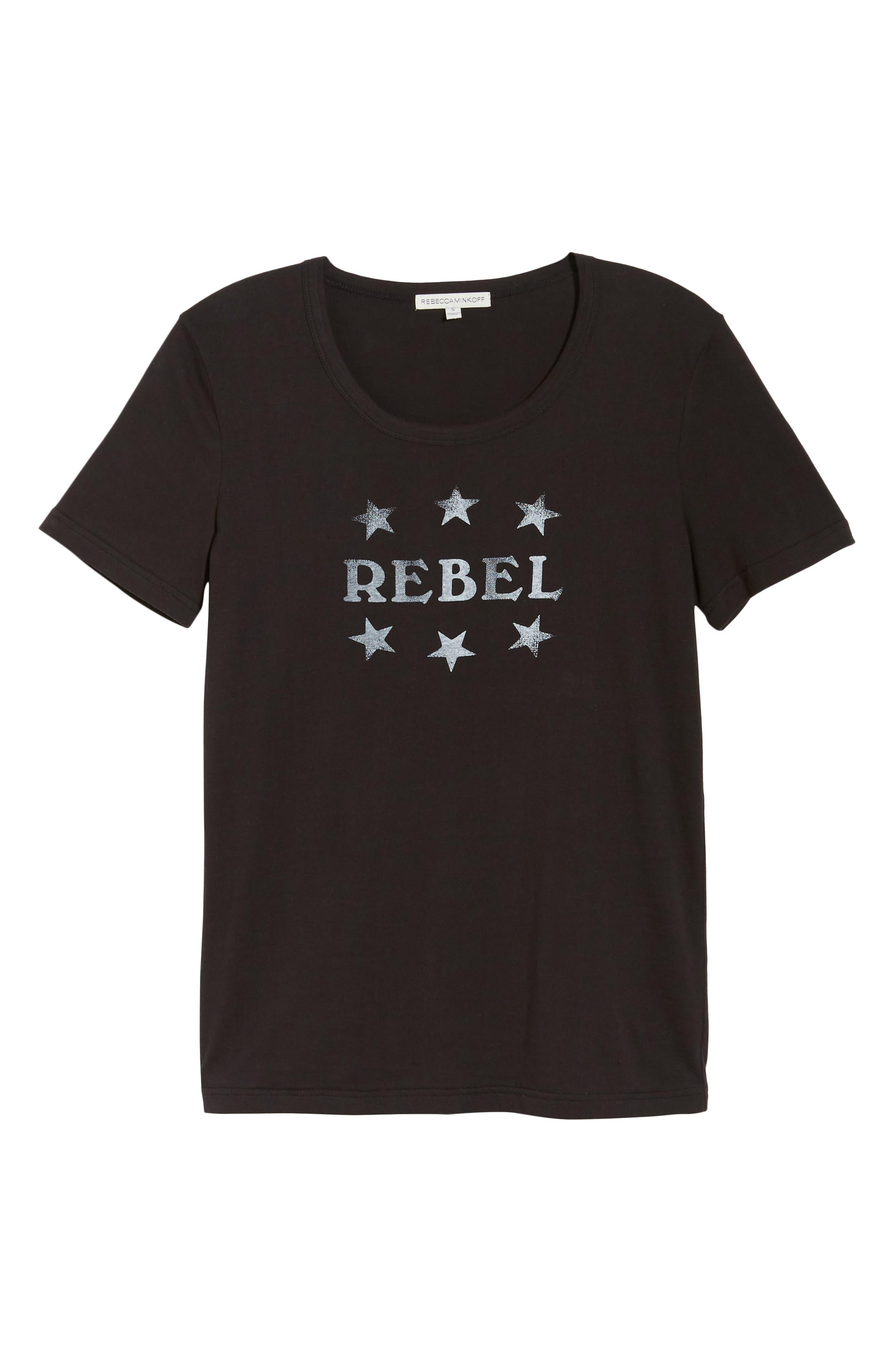 Rebel Ava Tee,                             Alternate thumbnail 6, color,                             BLACK/ WHITE