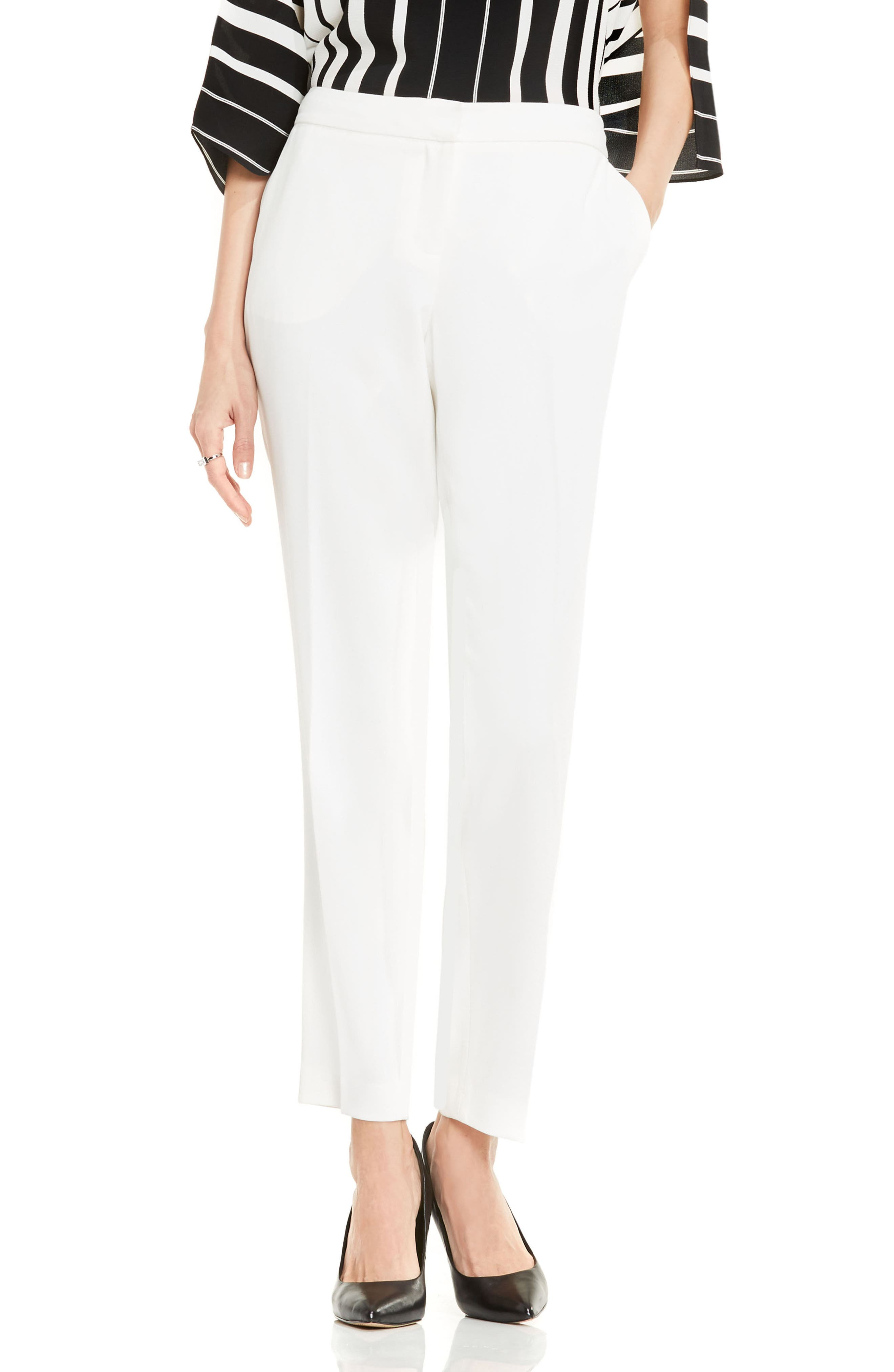 Textured Skinny Ankle Pants,                             Main thumbnail 1, color,                             NEW IVORY