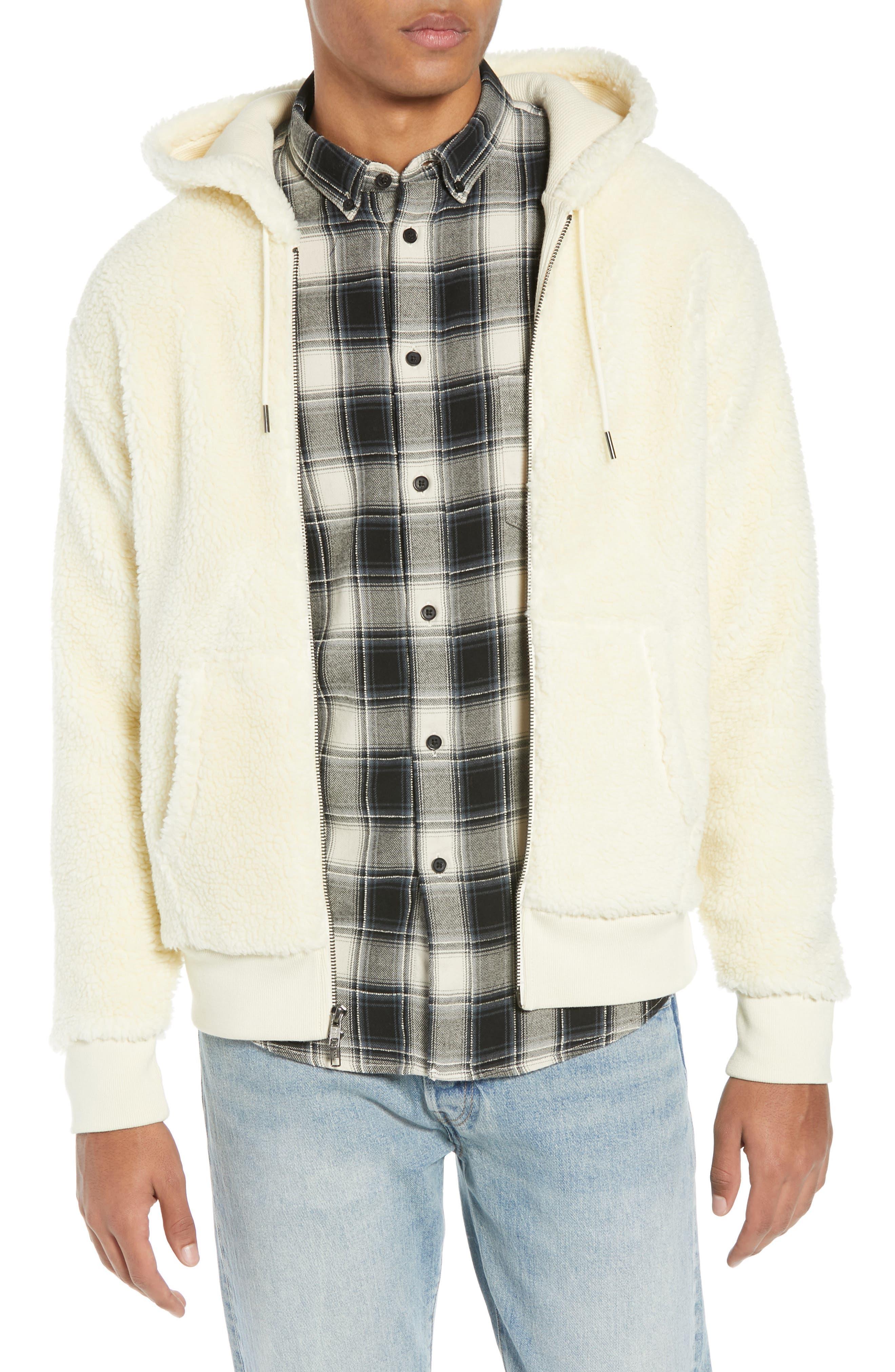 Fleece Zip Hoodie,                         Main,                         color, PRISTINE