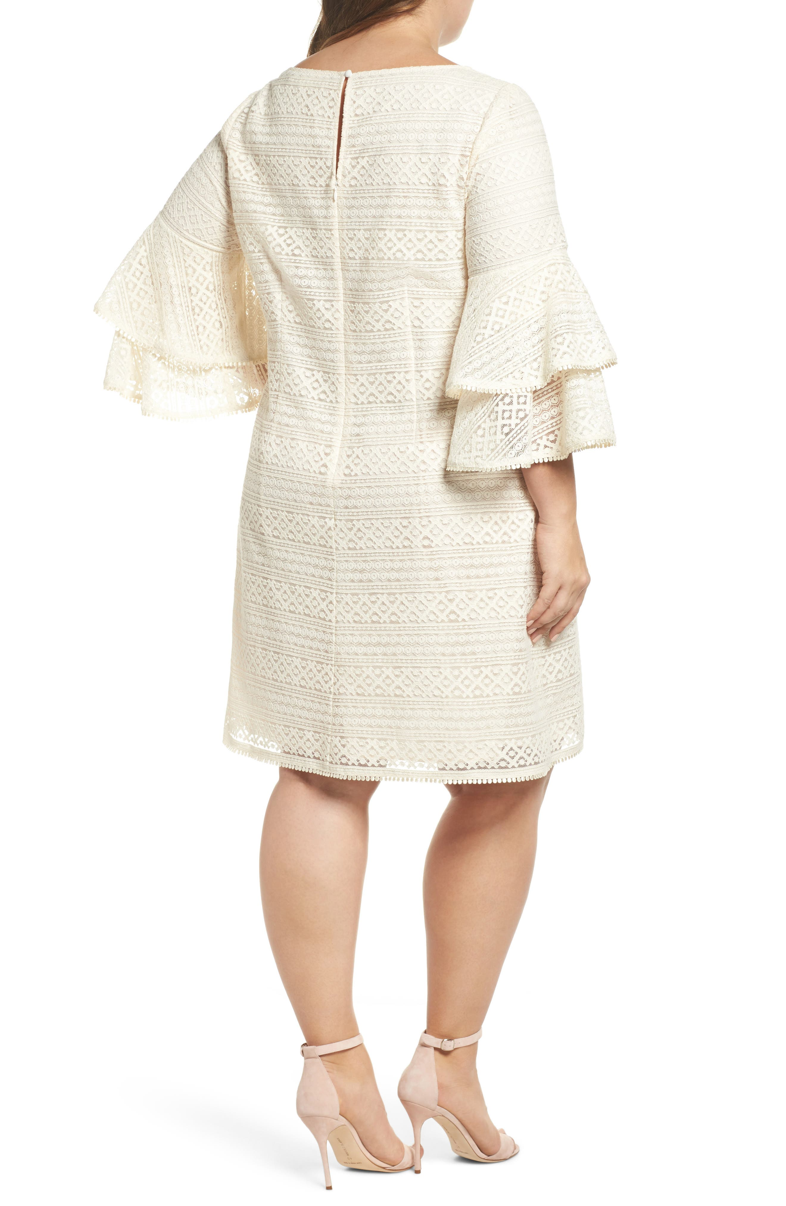 Bell Sleeve Lace Shift Dress,                             Alternate thumbnail 2, color,                             900
