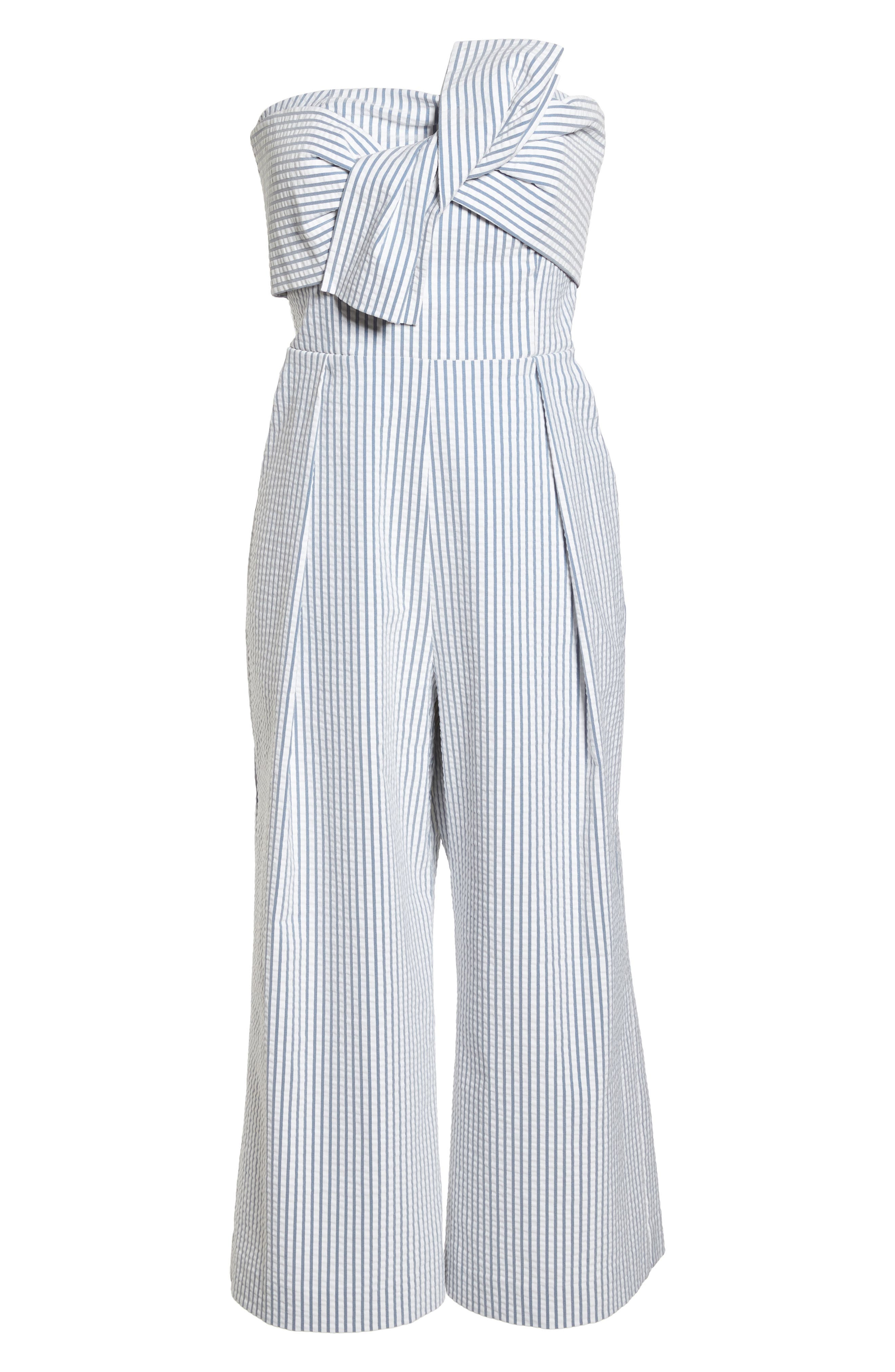 Twist Front Seersucker Crop Jumpsuit,                             Alternate thumbnail 7, color,                             BLUE/ WHITE STRIPE