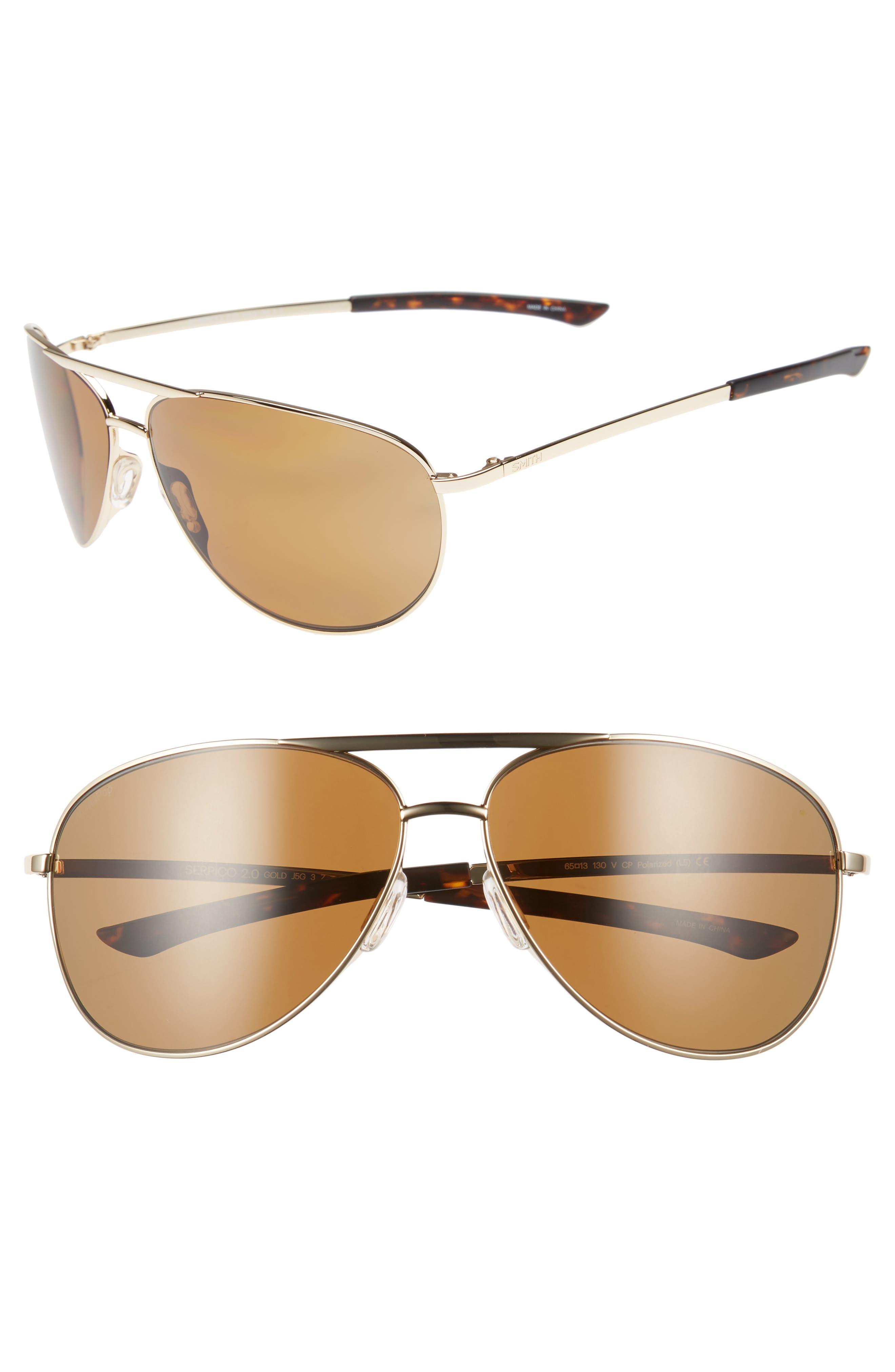 Serpico Slim 2.0 65mm ChromaPop<sup>™</sup> Polarized Aviator Sunglasses,                         Main,                         color, GOLD/ BROWN POLAR