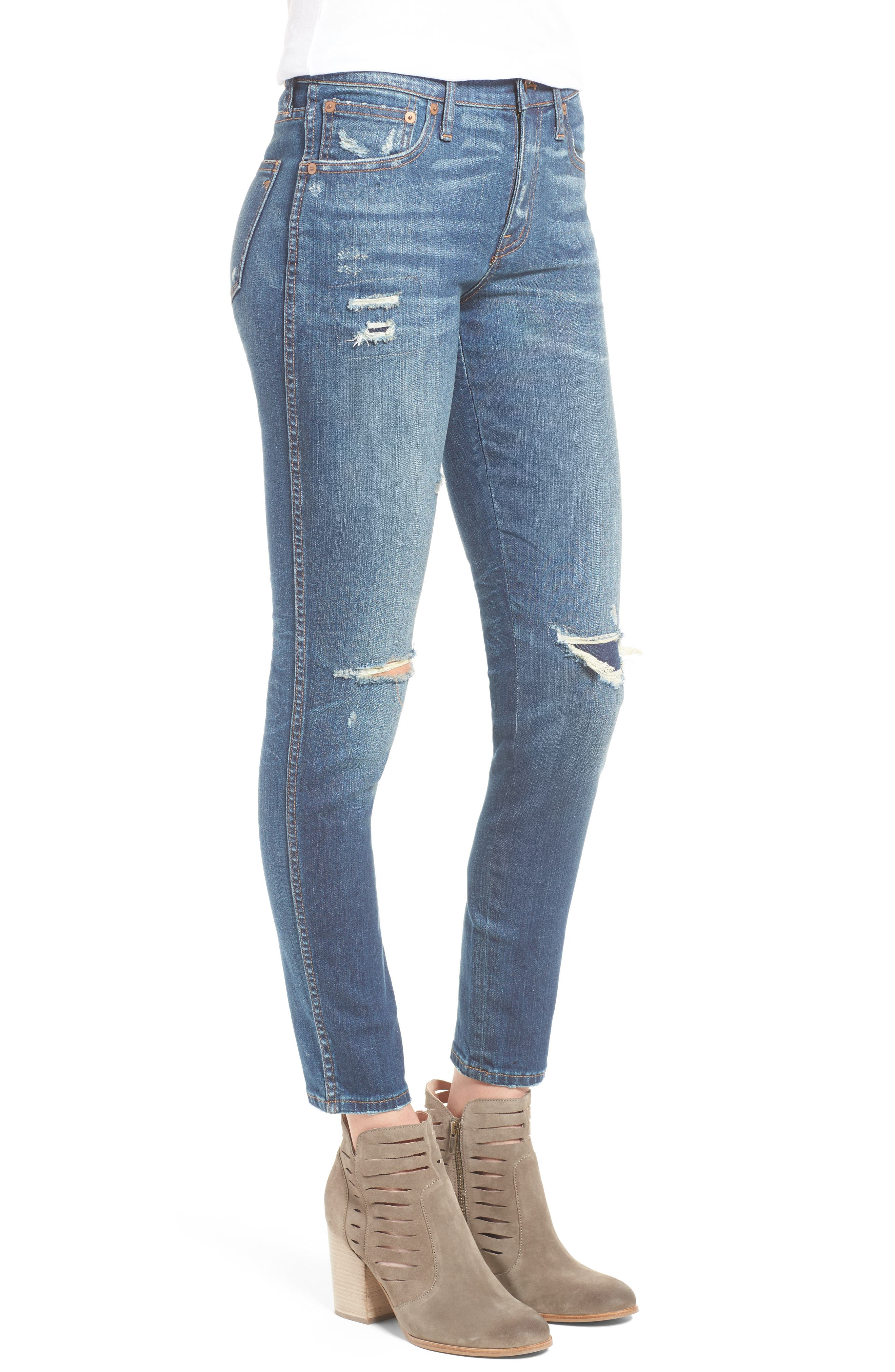 High 9-Inch High-Rise Skinny Jeans: Ripped and Patched Edition,                             Alternate thumbnail 3, color,