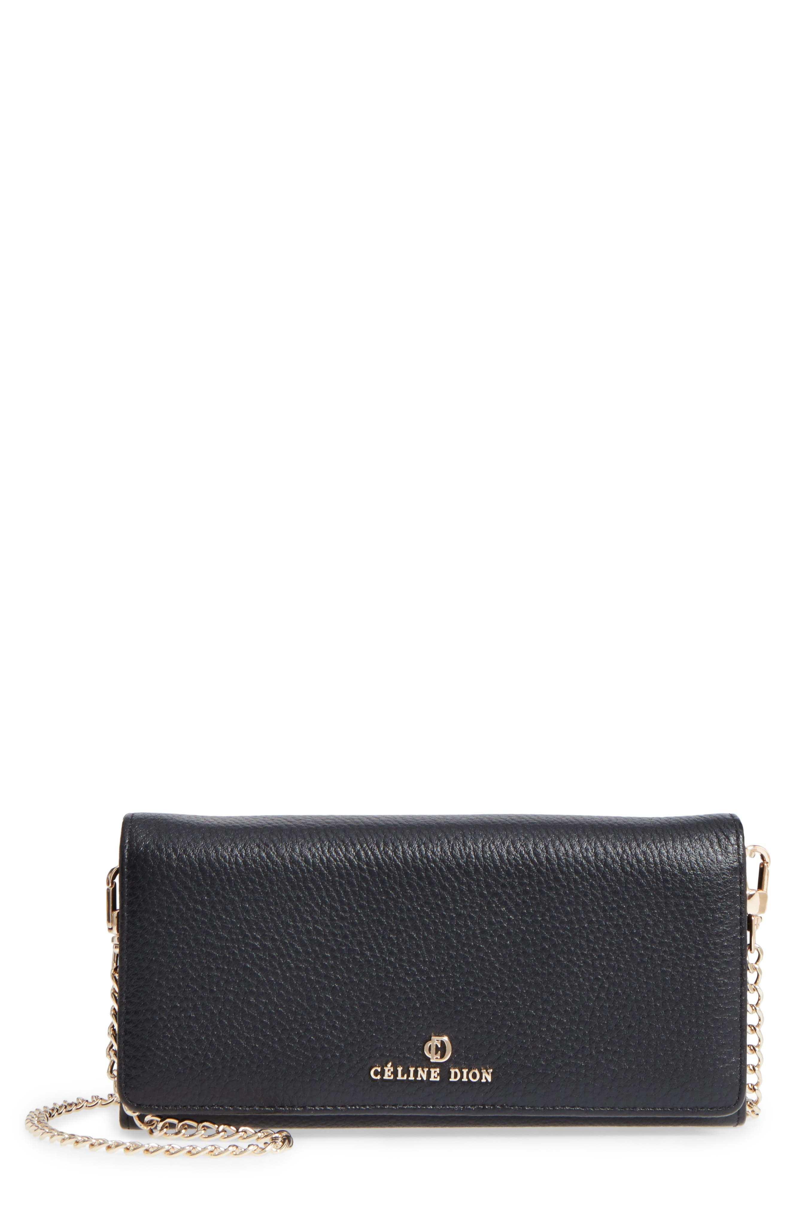 Céline Dion Adagio Leather Crossbody Wallet,                             Main thumbnail 1, color,                             001