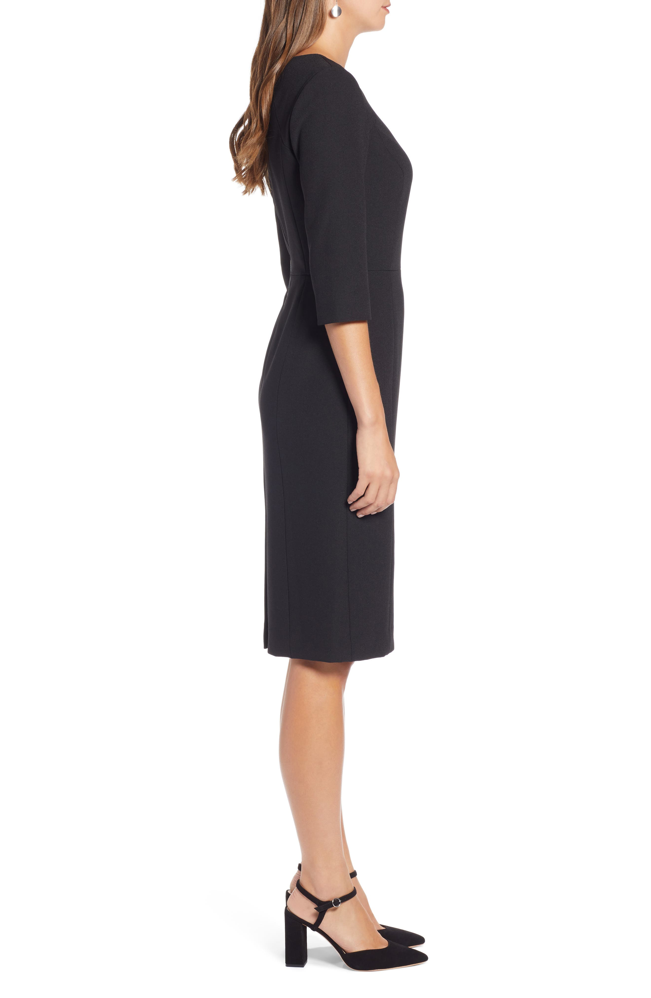 HALOGEN<SUP>®</SUP>,                             Textured Stretch Sheath Dress,                             Alternate thumbnail 3, color,                             001