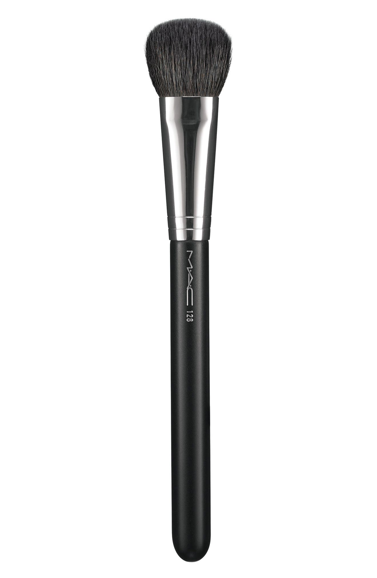 MAC 128 Split Fibre Cheek Brush,                             Alternate thumbnail 8, color,                             000