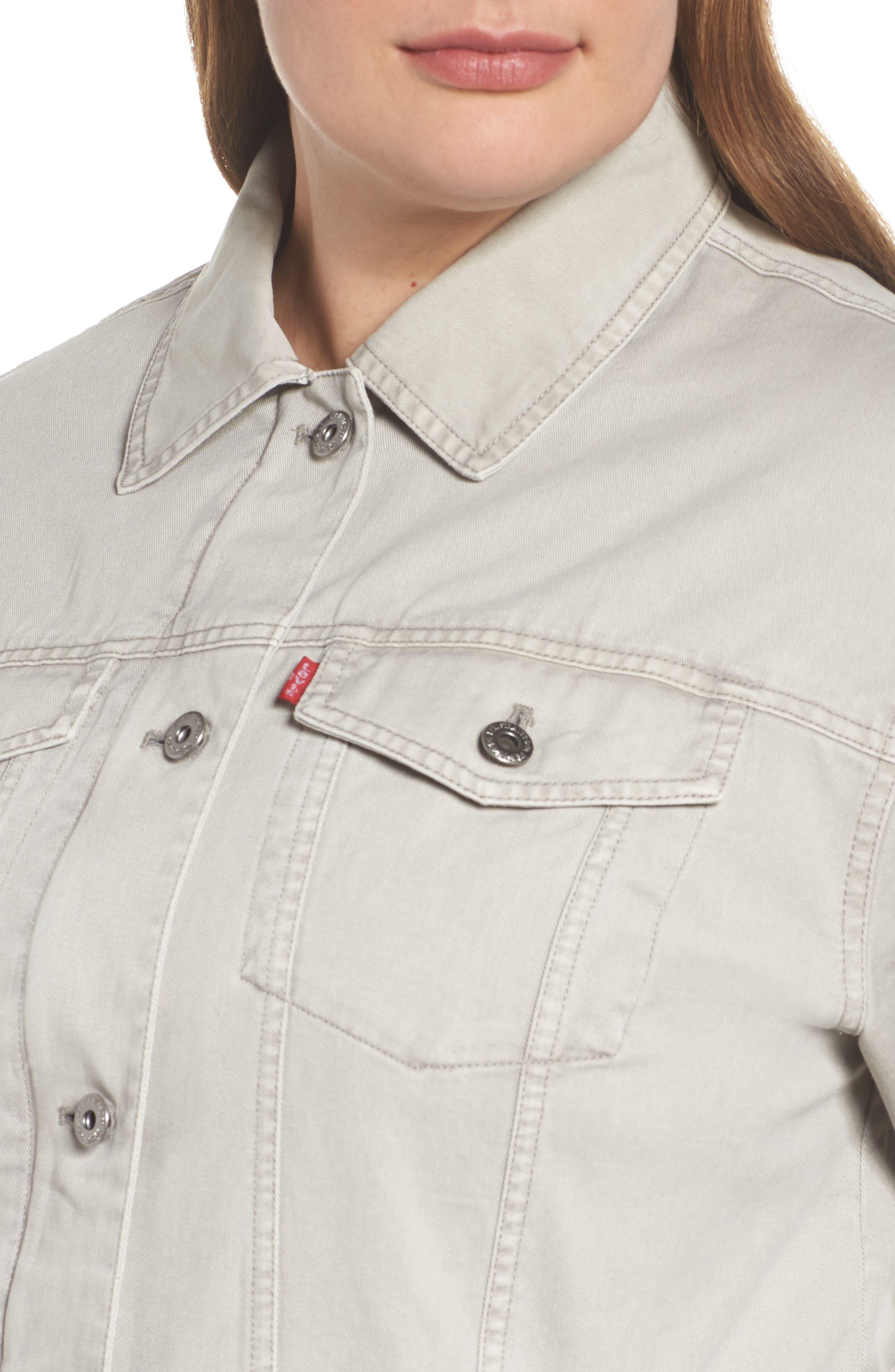 Oversize Cotton Canvas Trucker Jacket,                             Alternate thumbnail 4, color,                             030