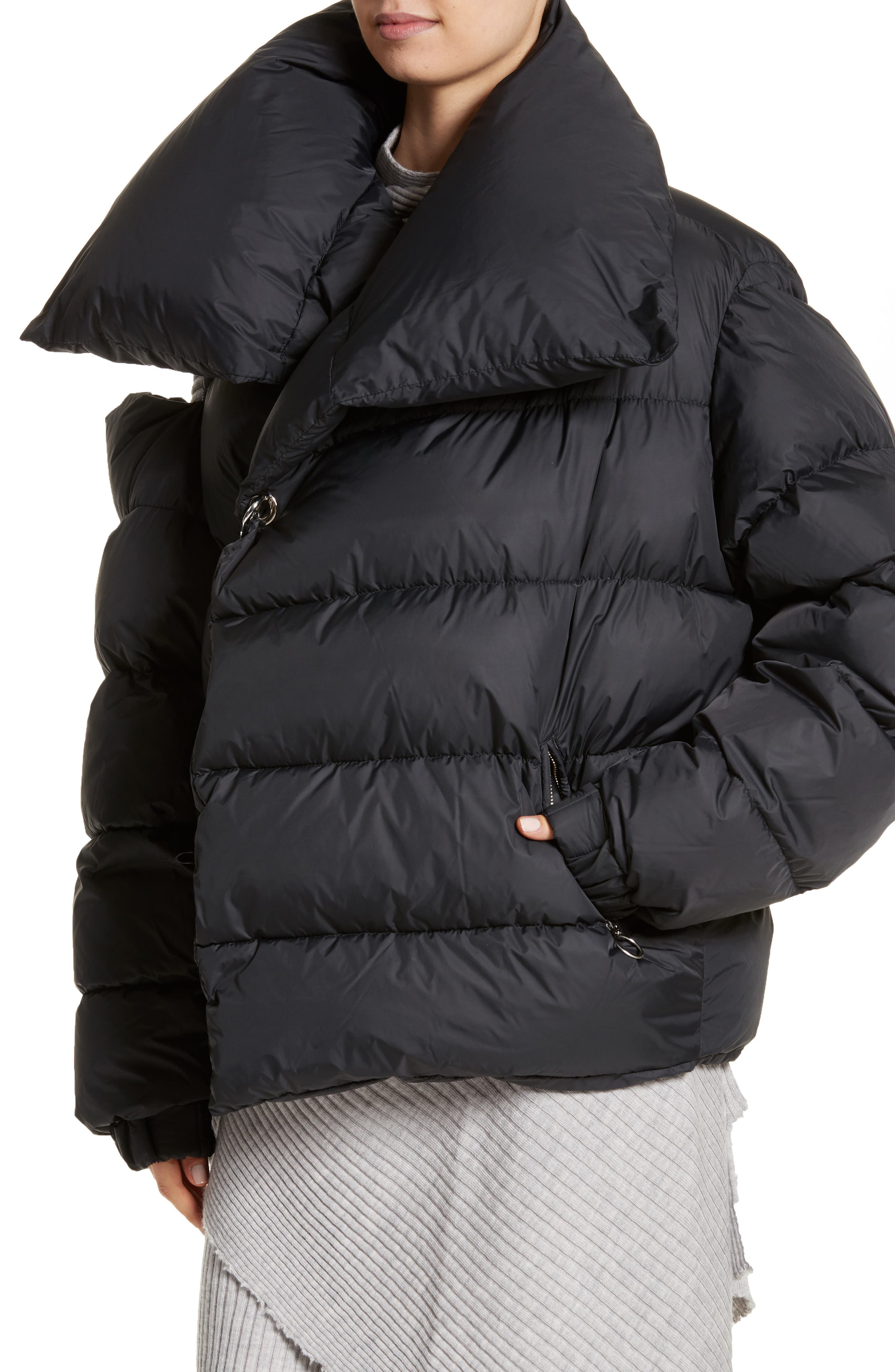 Marques'Almeida Asymmetrical Down Puffer Coat with Safety Pin Closure,                             Alternate thumbnail 4, color,                             001