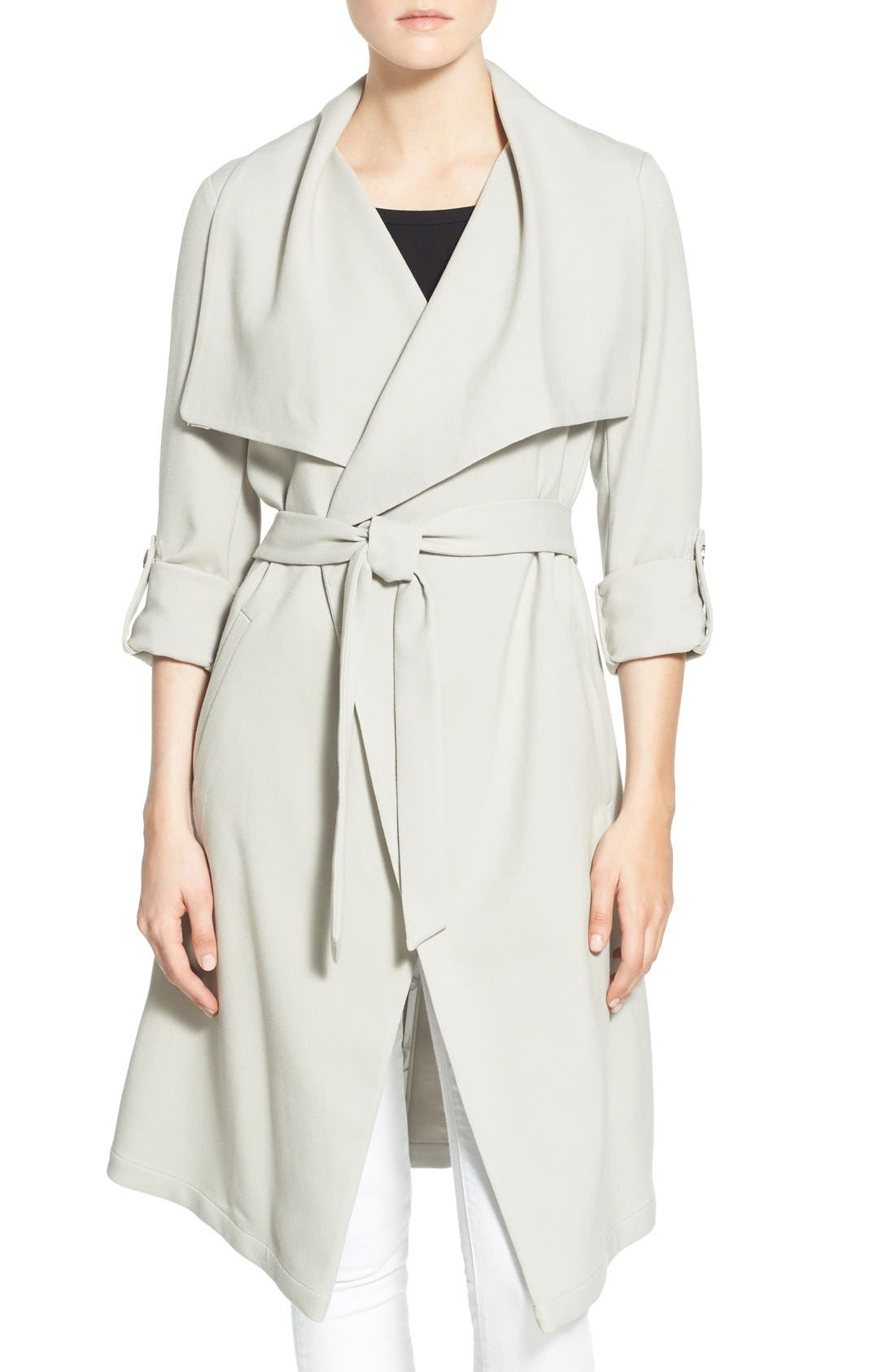 Roll Sleeve Drape Front Long Trench Coat,                             Main thumbnail 6, color,