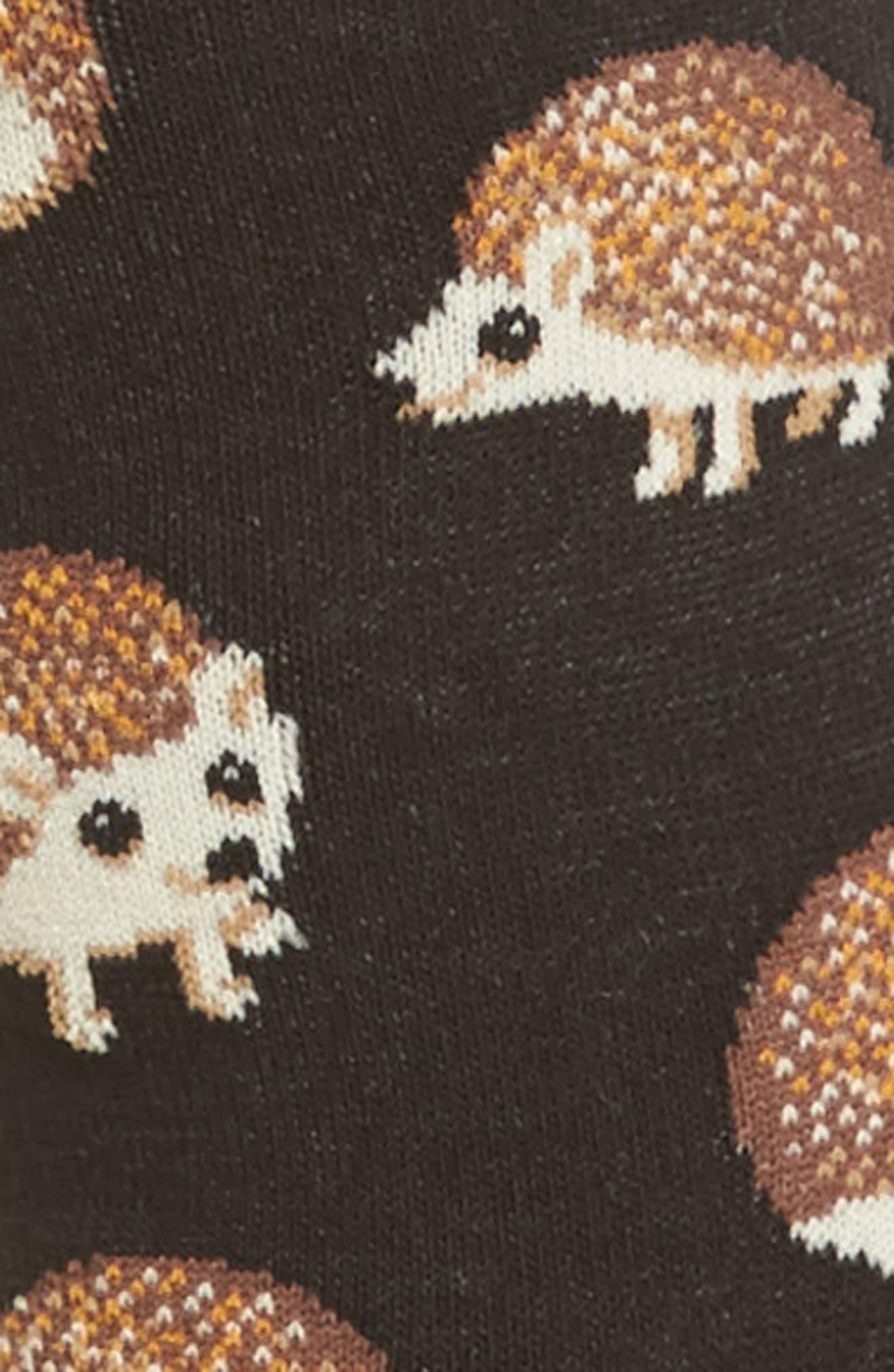 Hedgehog Crew Socks,                             Alternate thumbnail 3, color,                             001