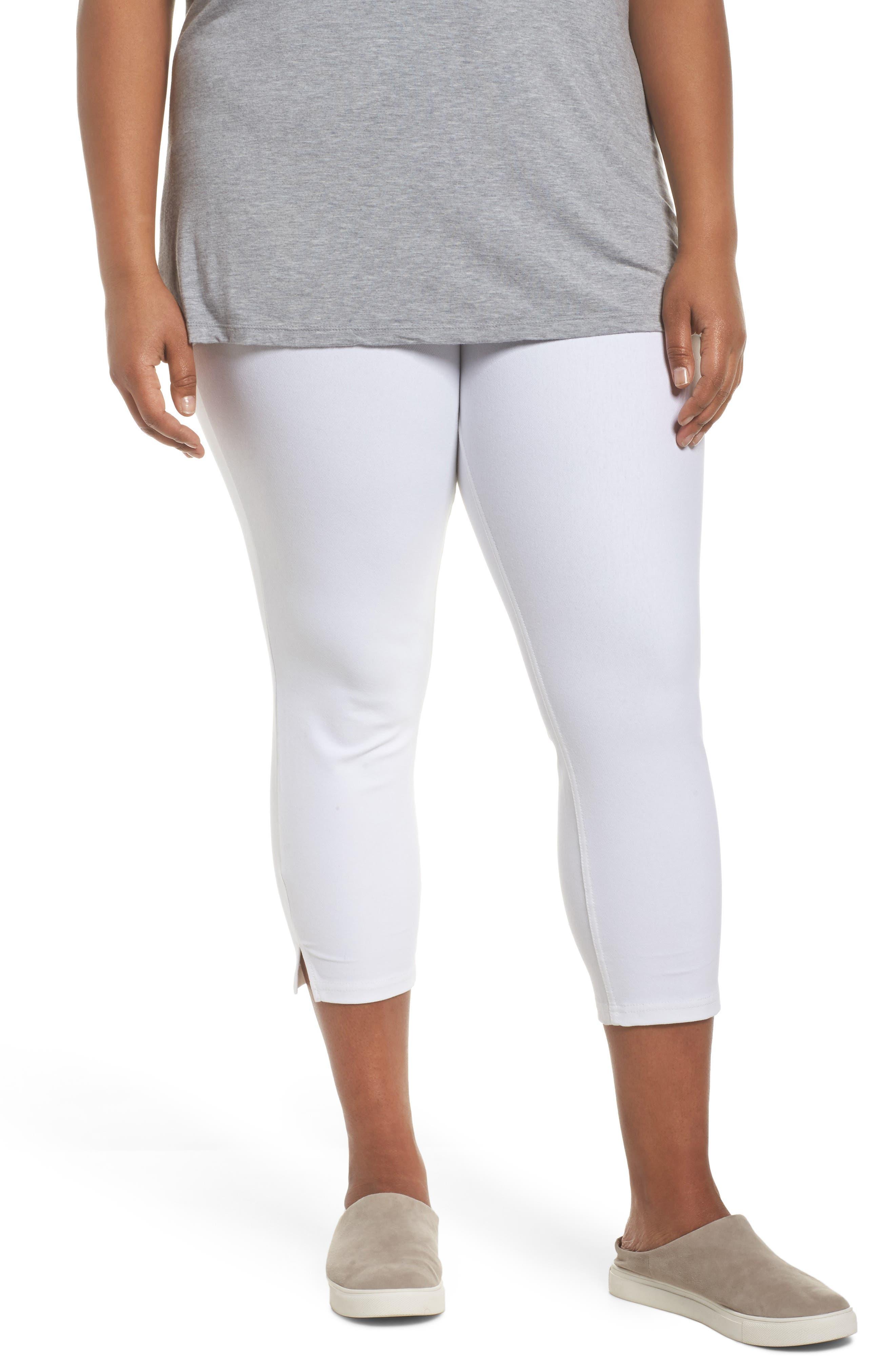 Ankle Slit Crop Denim Leggings,                         Main,                         color, WHITE