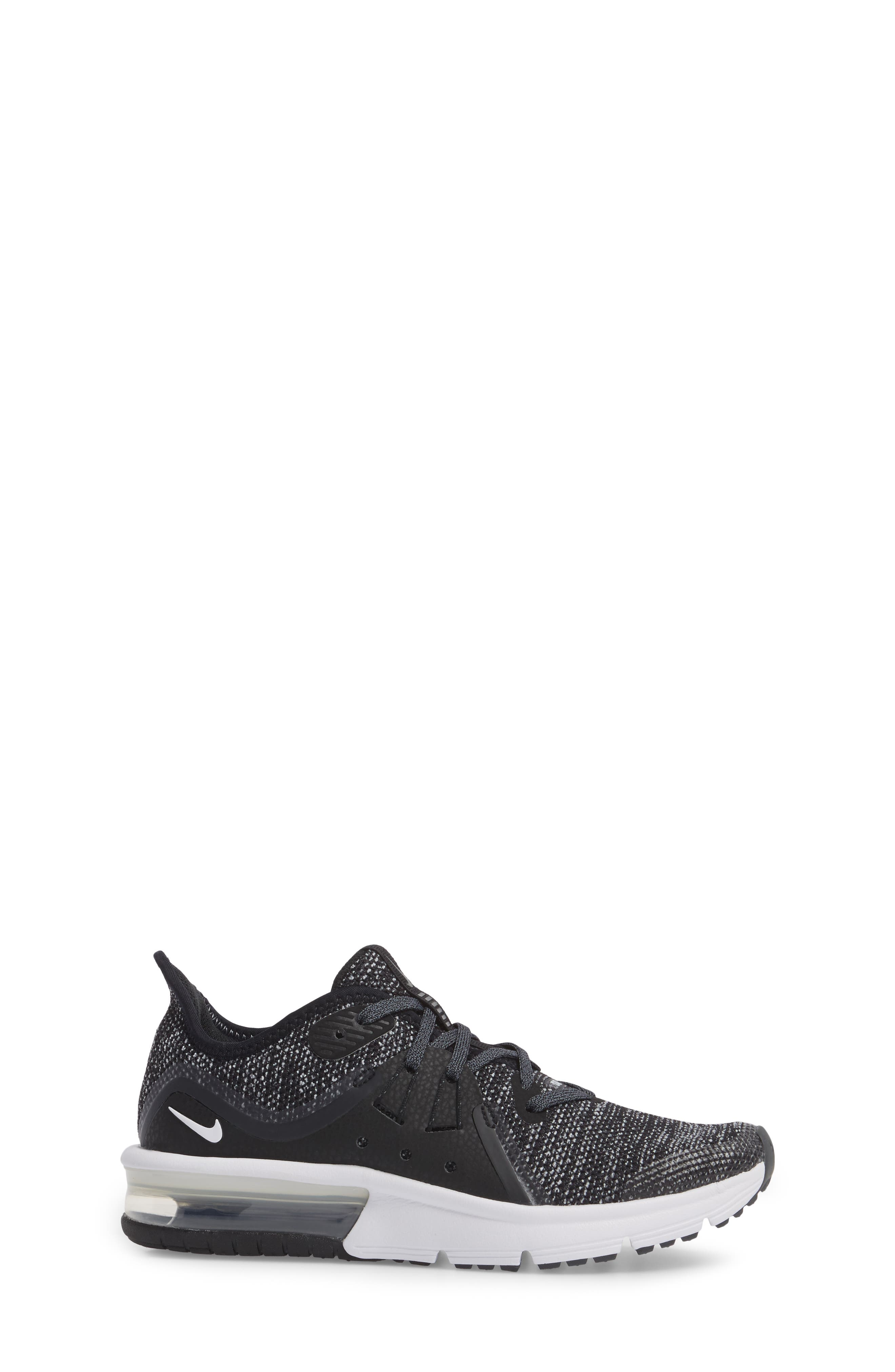 NIKE,                             Air Max Sequent 3 GS Running Shoe,                             Alternate thumbnail 3, color,                             001