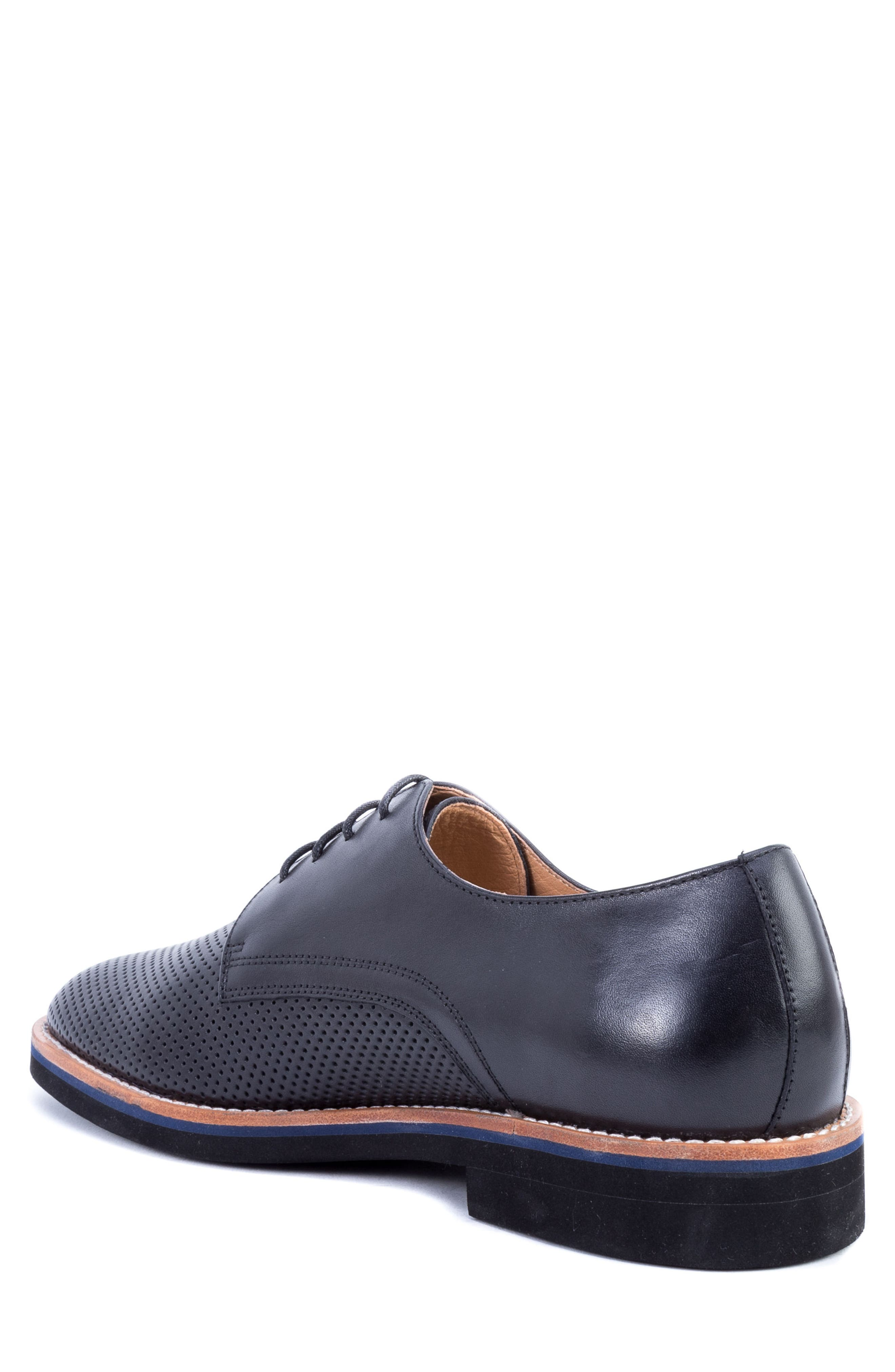 Hartung Perforated Plain Toe Derby,                             Alternate thumbnail 2, color,                             BLACK LEATHER