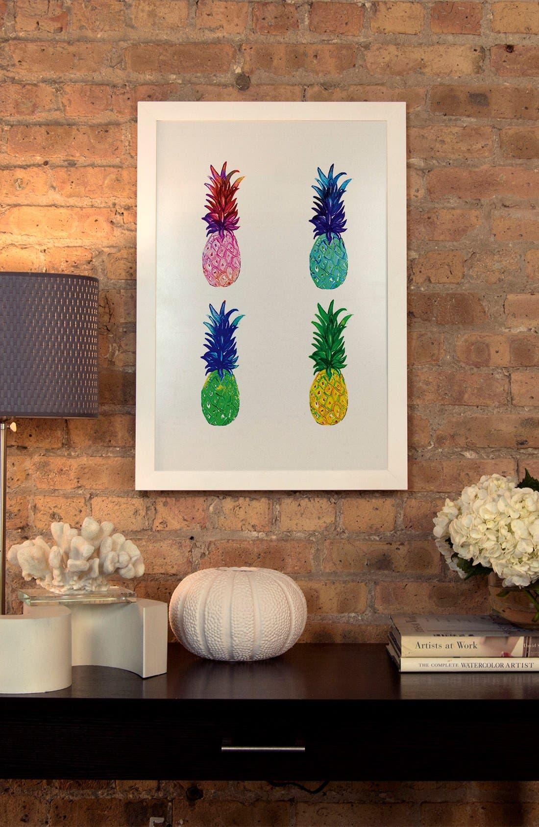 Pineapple Giclée Print Framed Canvas Art,                             Alternate thumbnail 2, color,                             WHITE