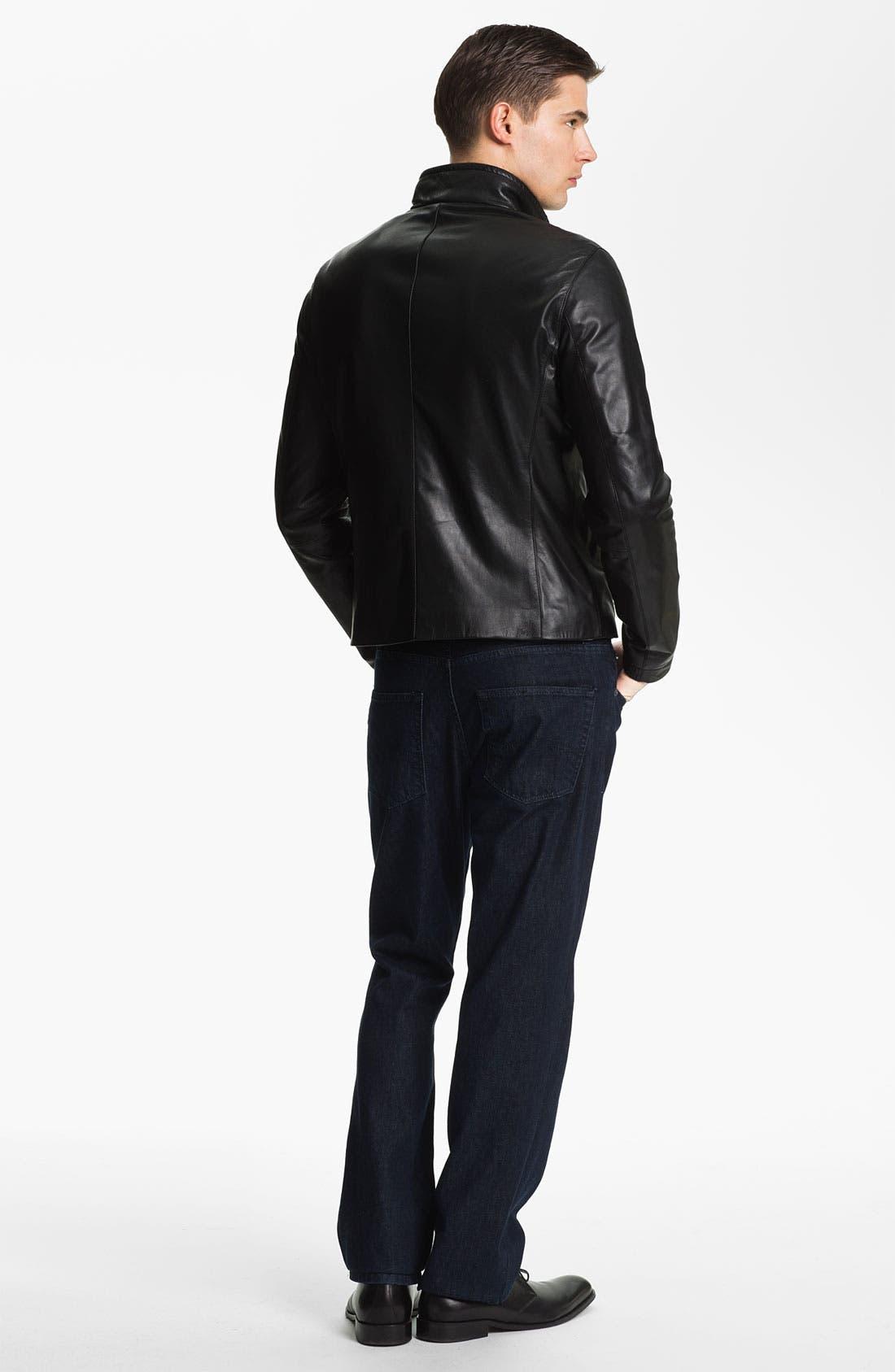 EMPORIO ARMANI,                             Armani Collezioni Blouson Leather Jacket,                             Alternate thumbnail 2, color,                             001