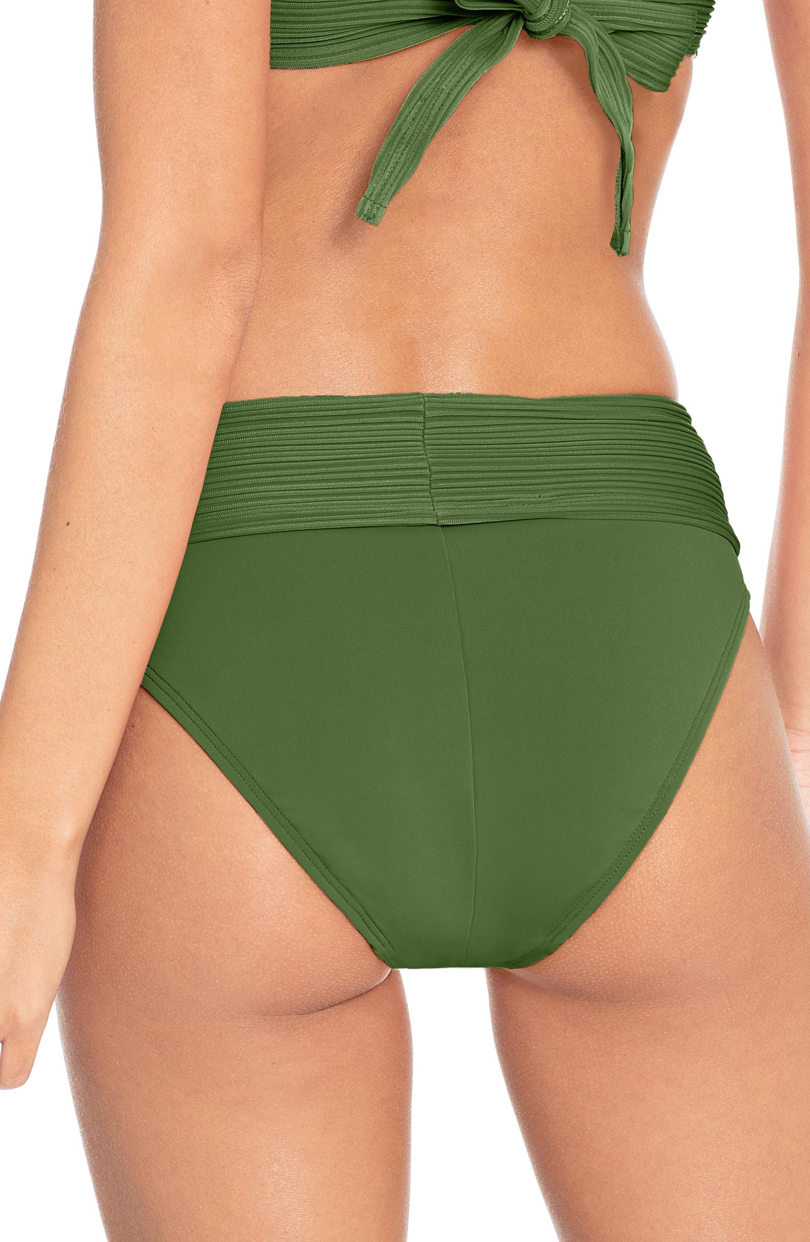 Lily Banded Bikini Bottoms,                             Alternate thumbnail 2, color,                             BASIL