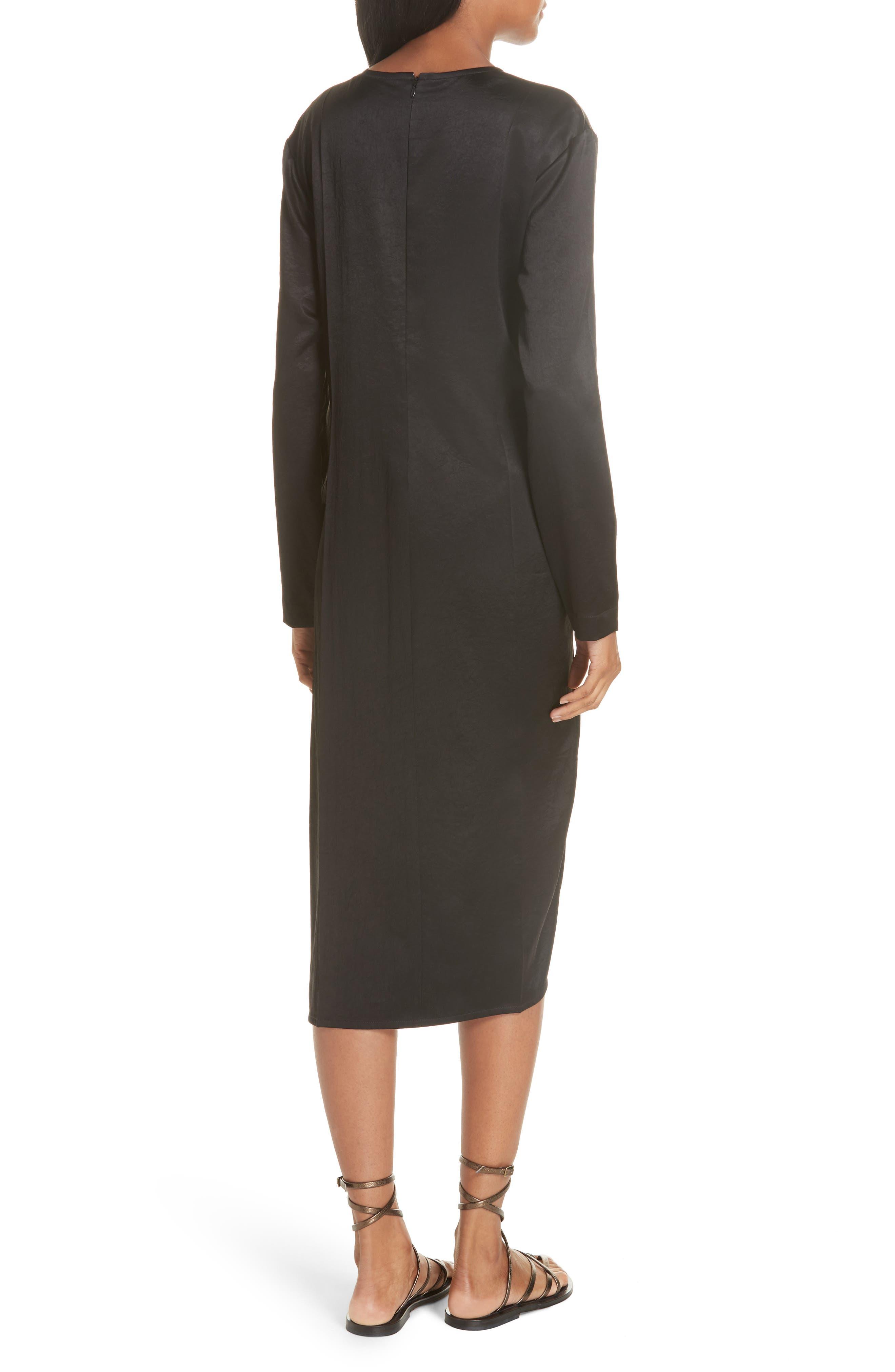 Ruched Crinkle Satin Dress,                             Alternate thumbnail 2, color,                             001