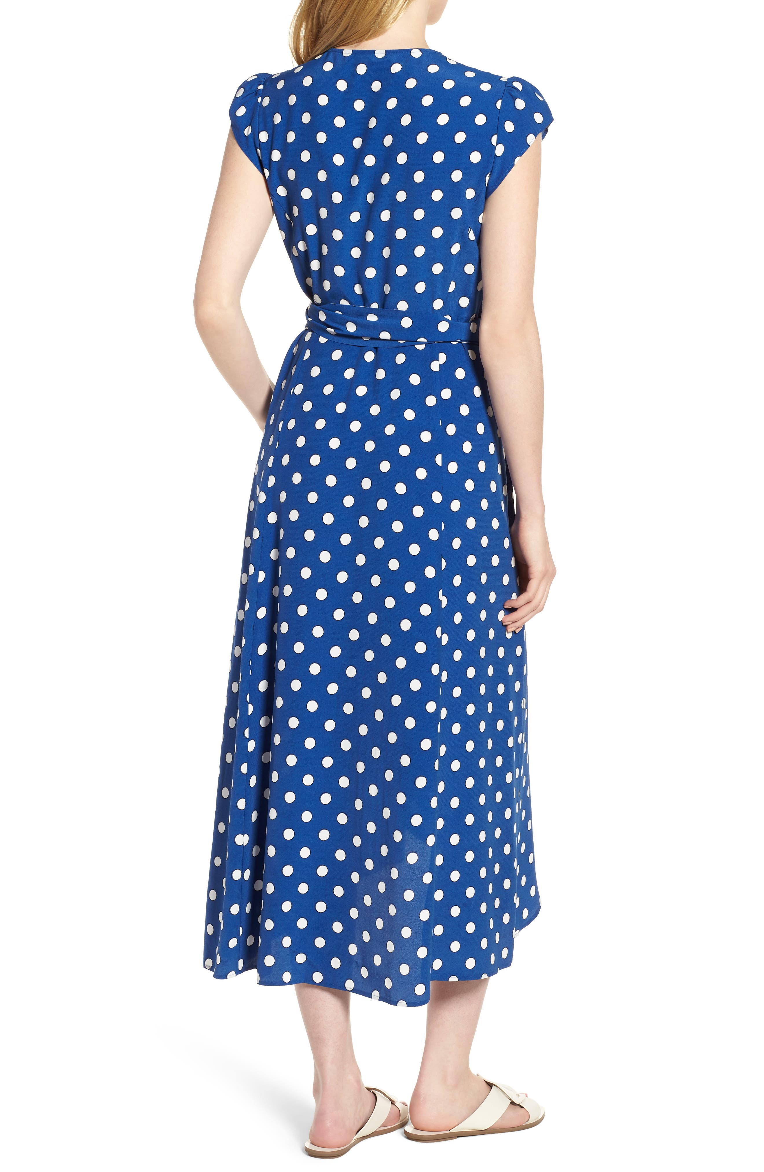 Polka Dot Wrap Dress,                             Alternate thumbnail 2, color,