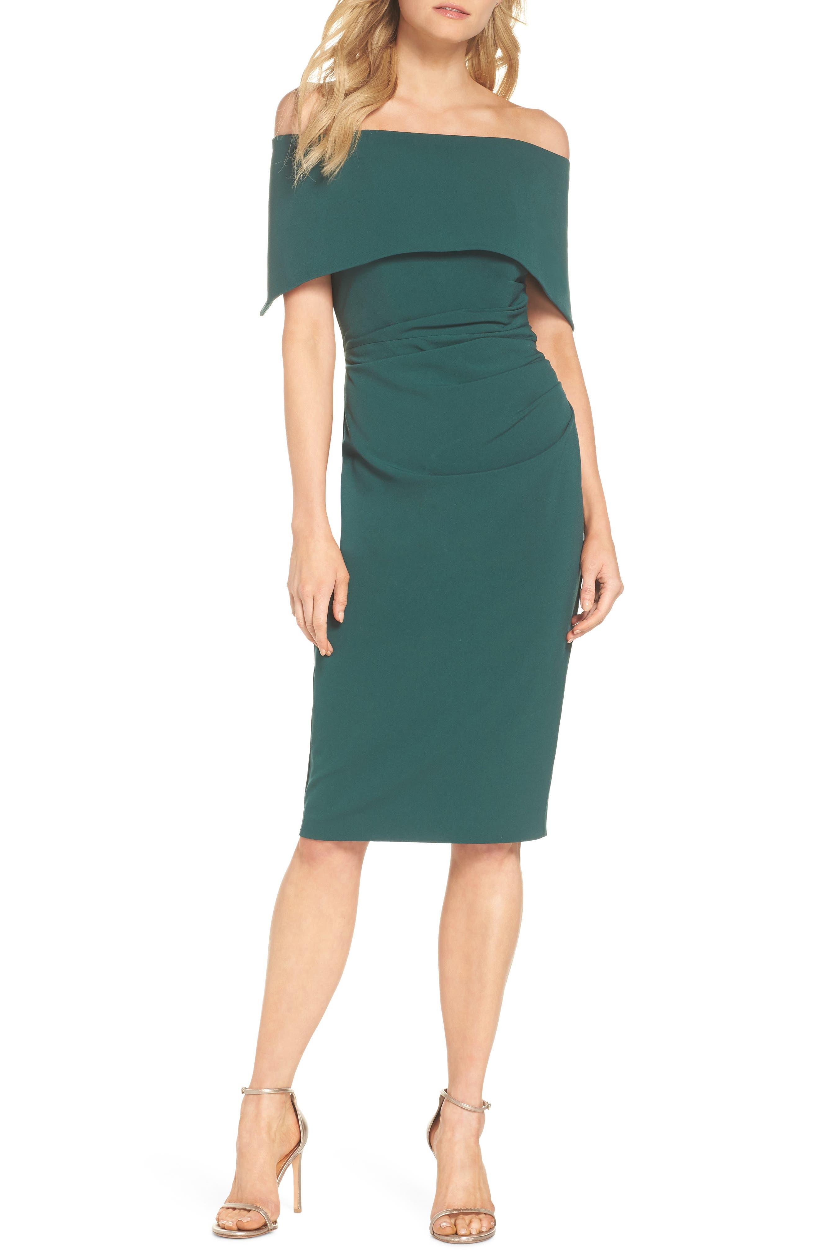 Popover Midi Dress,                         Main,                         color, EMERALD