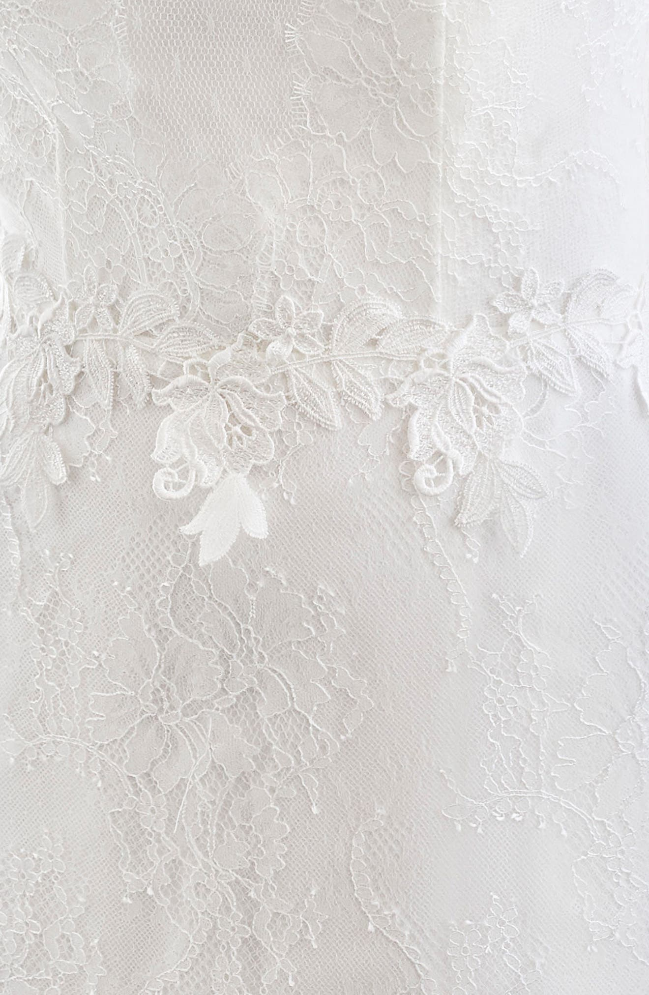 INMACULADA GARCÍA,                             Rubi Bell Sleeve Illusion Sheath Gown,                             Alternate thumbnail 3, color,                             IVORY